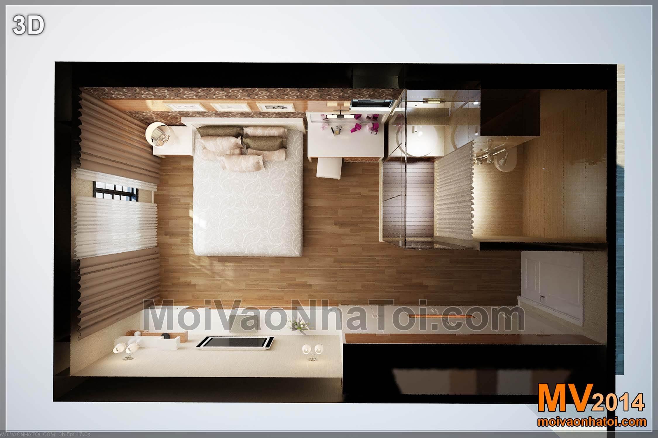 phối cảnh 3D mặt bằng phòng ngủ master chung cư mulberrylane