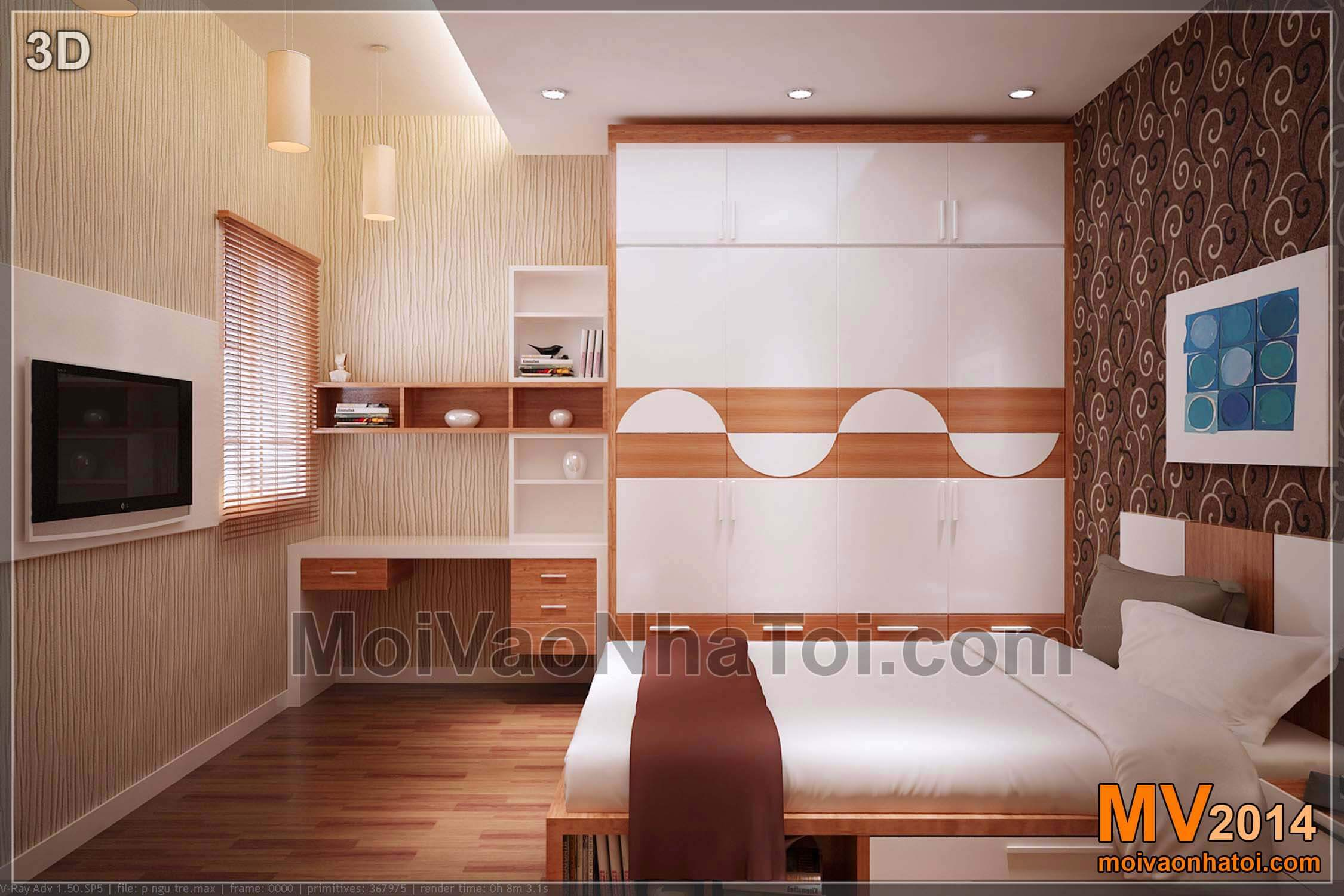 3d phòng ngủ con chung cư mulberrylane