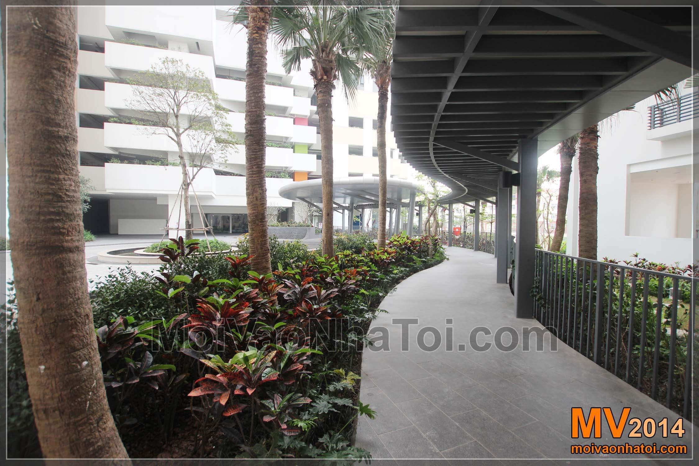 lối đi dạo trong khuôn viên chung cư mulberry lane. thiết kế thi công chung cư mulberry lane
