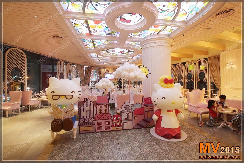 Nội thất quán bánh ngọt Hello Kitty