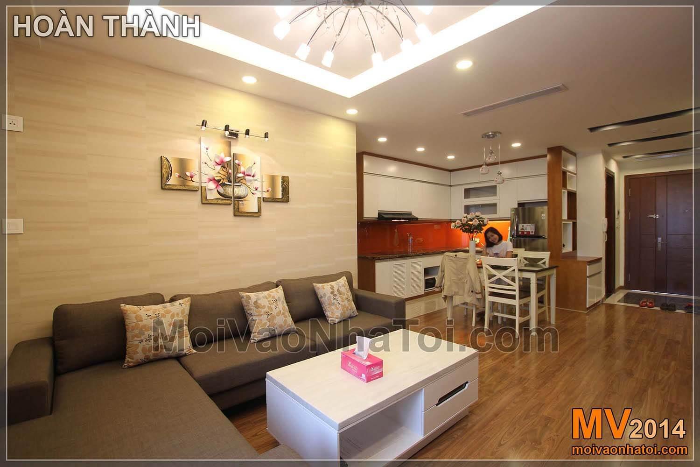 phòng khách mở rộng sang bếp chung cư starcity. thi công chung cư star city