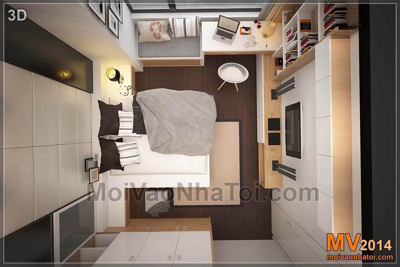 mặt bằng 3D phòng ngủ chung cư starcity