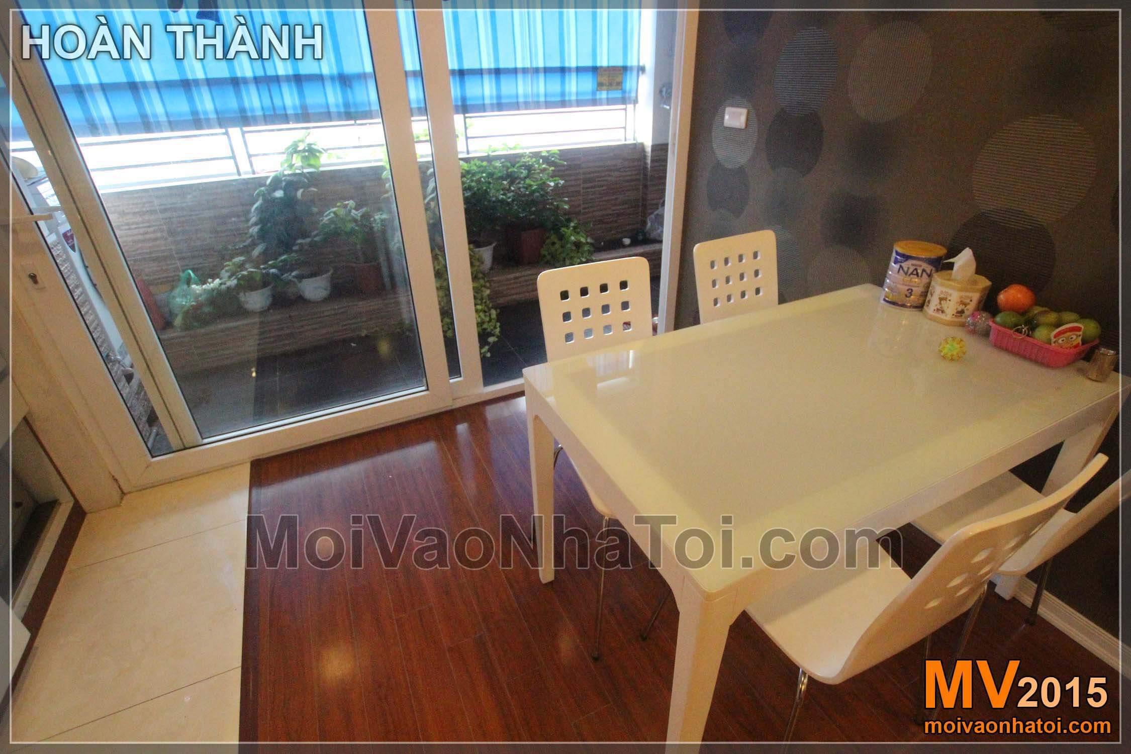 bàn ăn phòng bếp chung cư nam đô complex CT1A