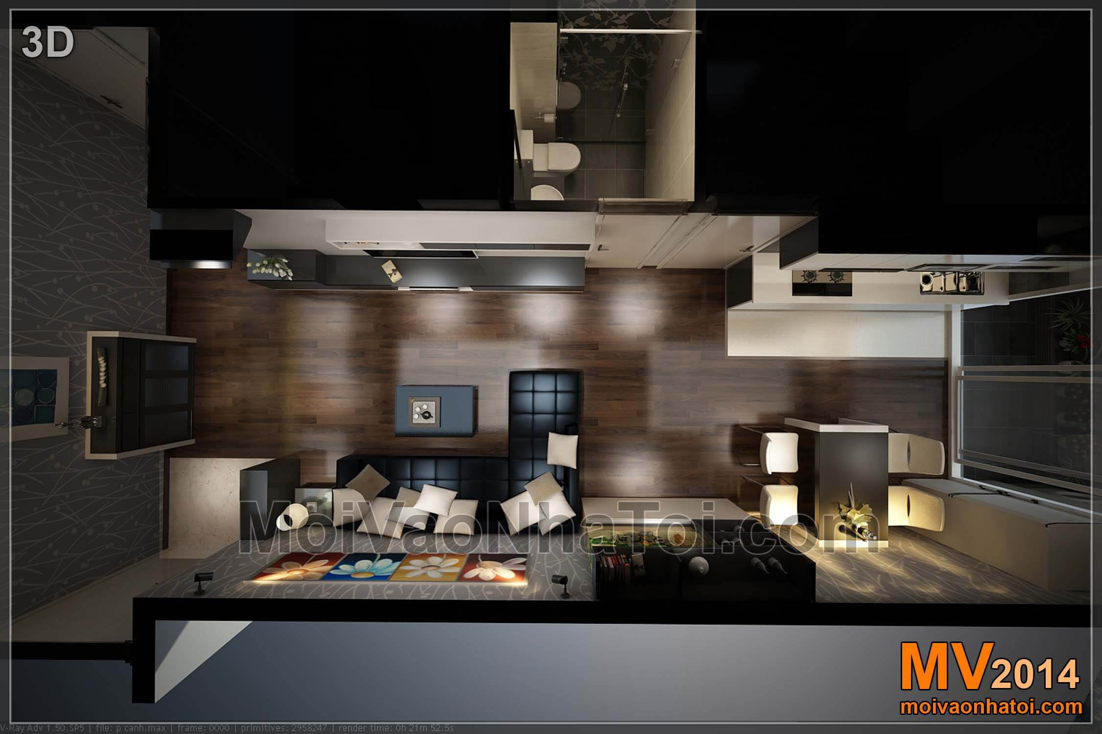 3D phòng khách nhìn từ trên cao chung cư nam đô 90m2
