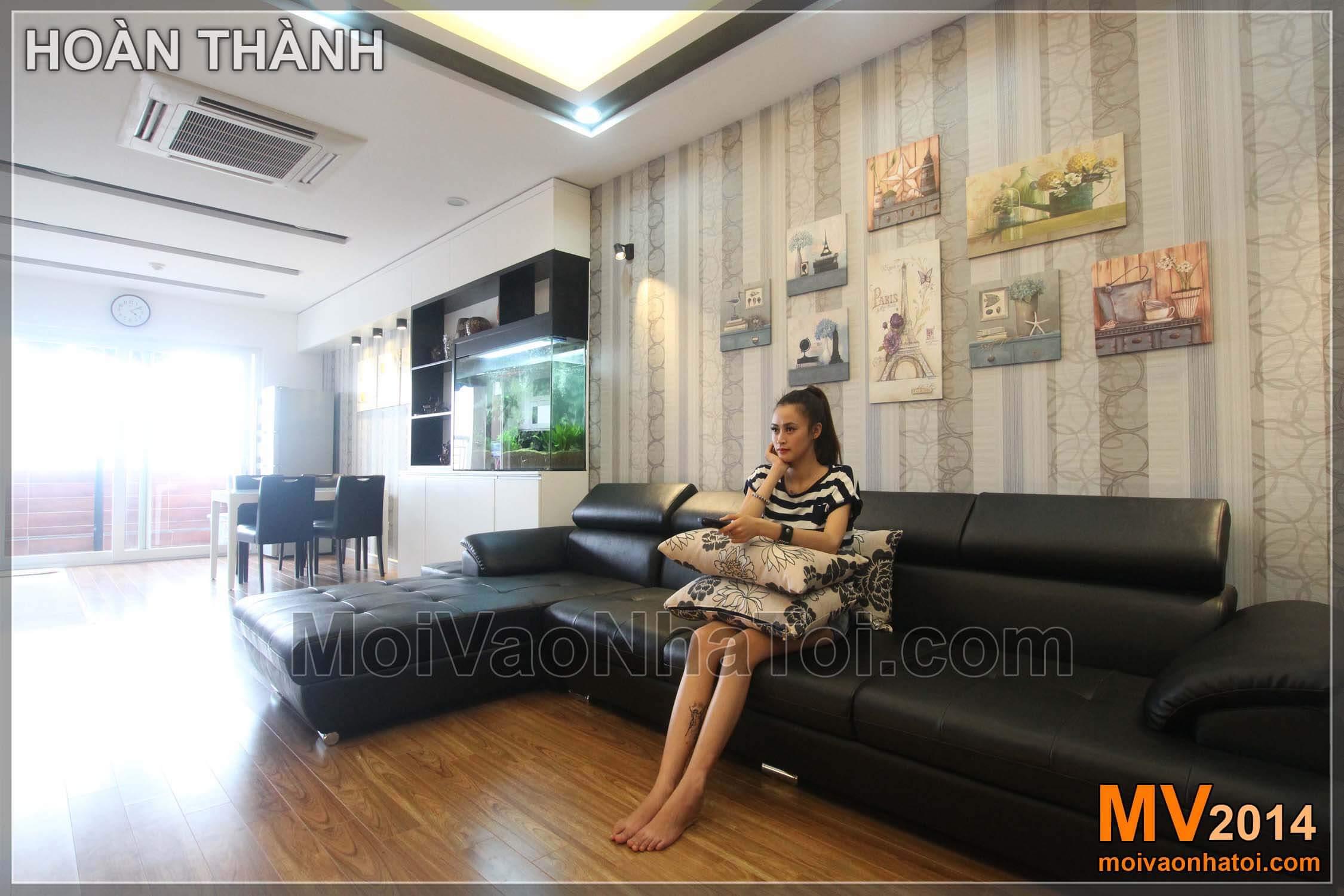 mảng tường sau sofa chung cư nam đô 90m2