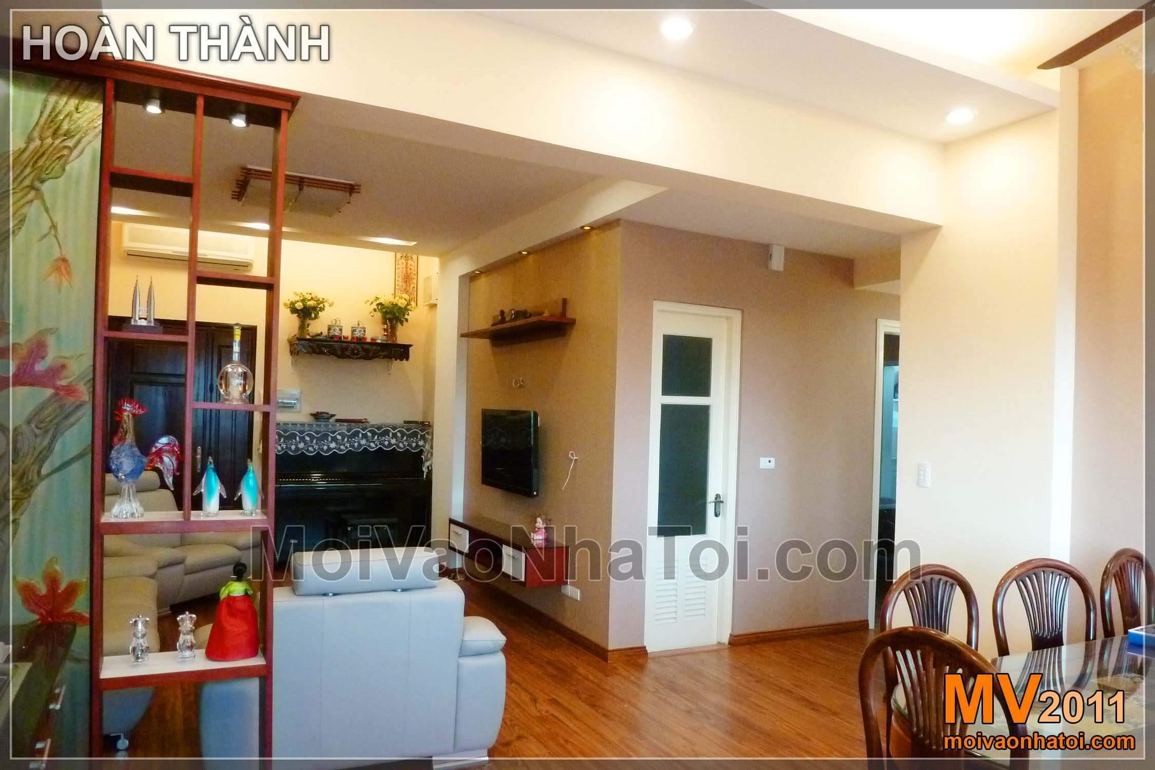 bếp và phòng khách hòn thiện thi công chung cư viglacera