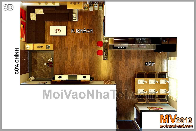 mặt bằng 3D phòng khách, bếp chung cư Nam Đô Complex