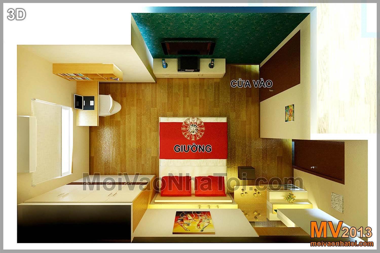 mặt bằng 3d phòng ngủ chung cư Nam Đô Complex