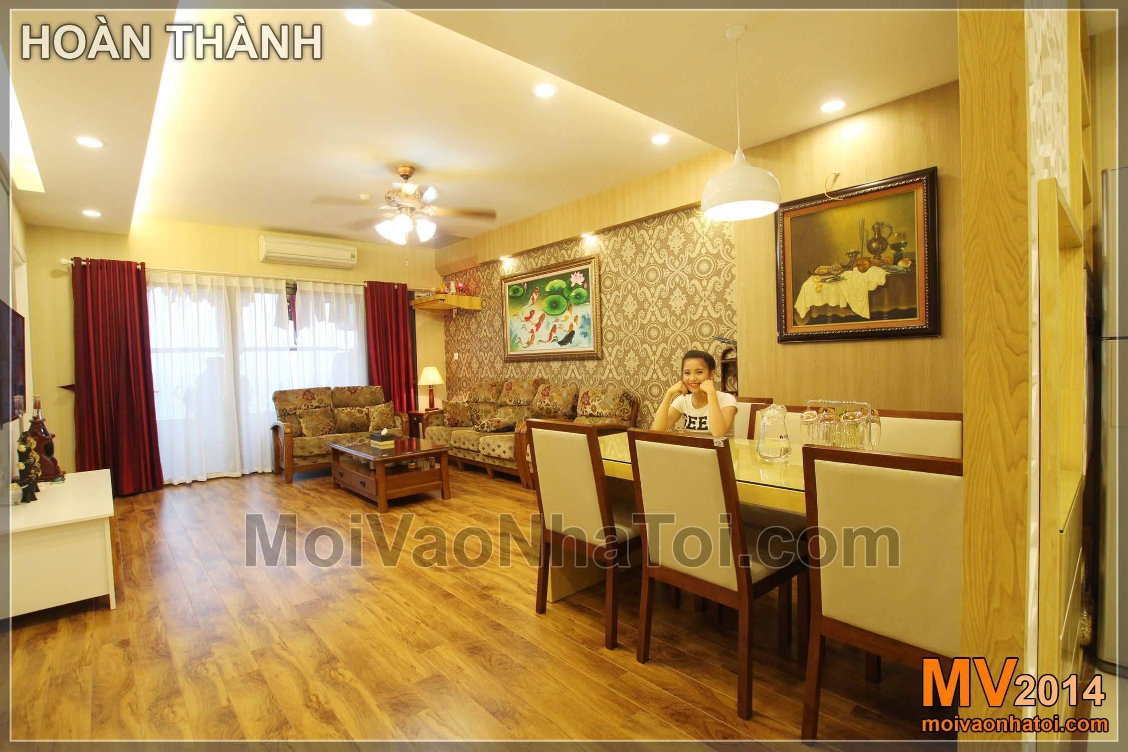 phòng khách ấm áp sau hoàn thiện chung cư star city