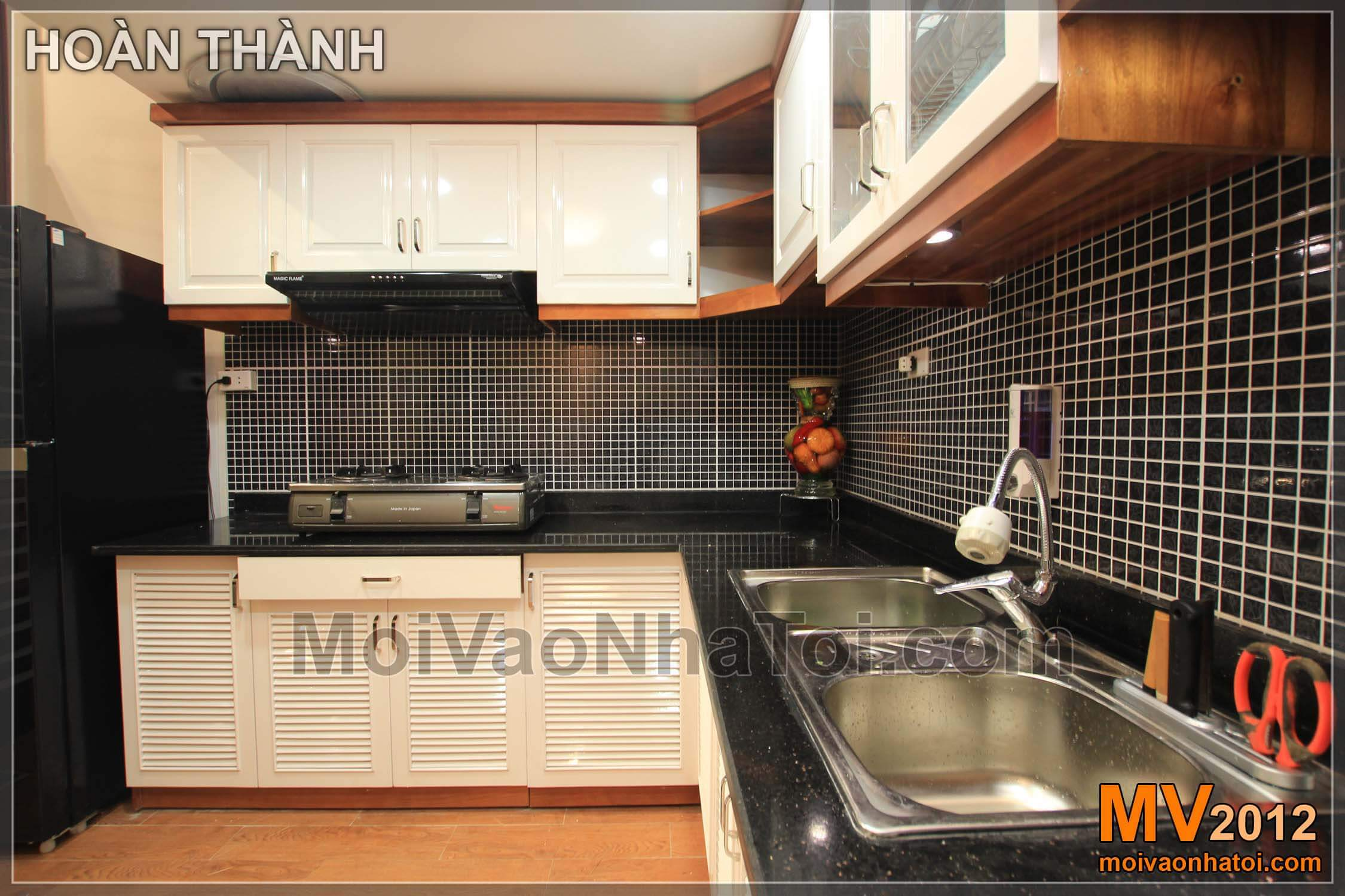 thiết kế nội thất phòng khách liền bếp