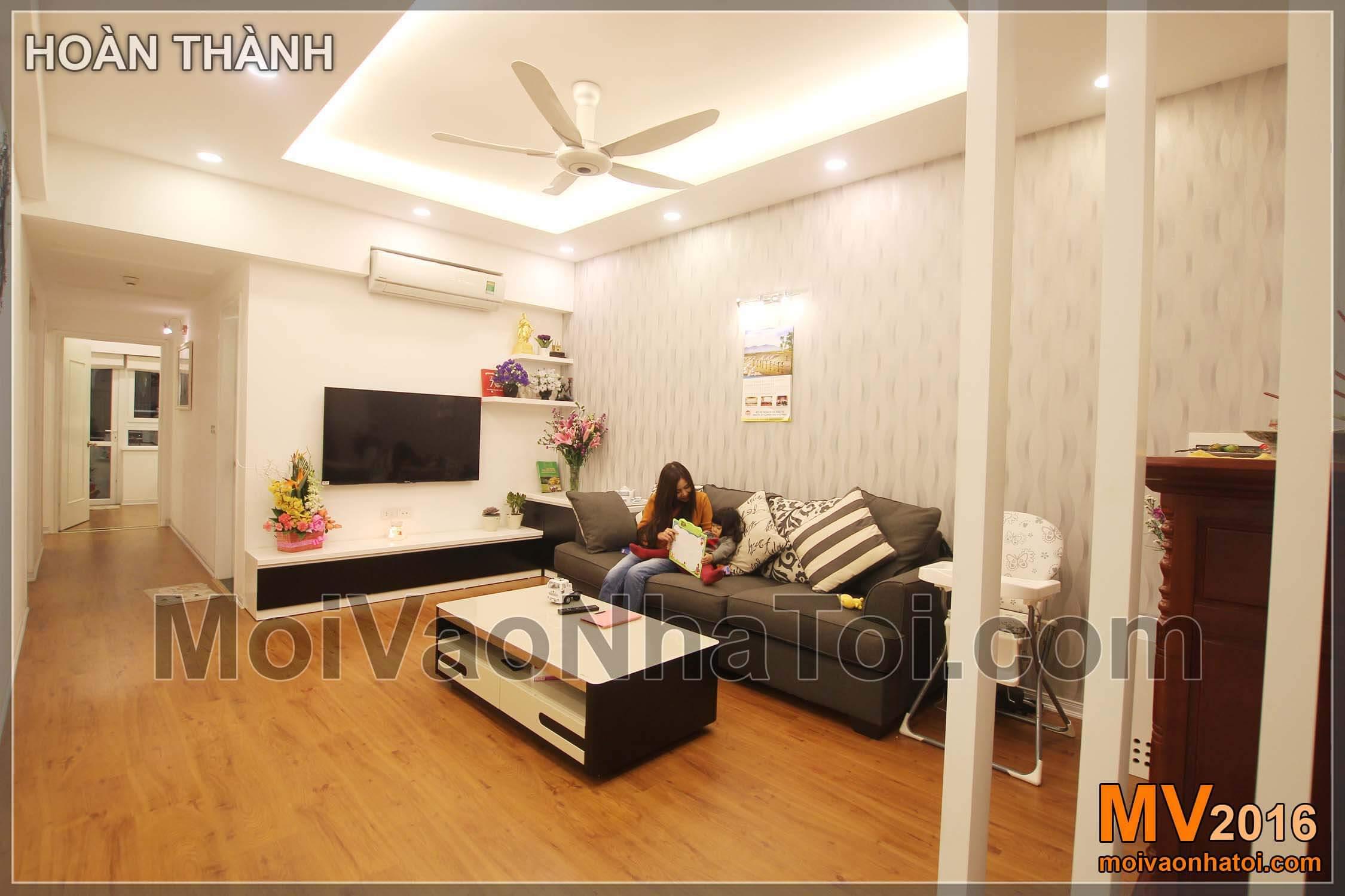 Phòng khách chung cư Vinaconex . thiết kế chung cư 105m2