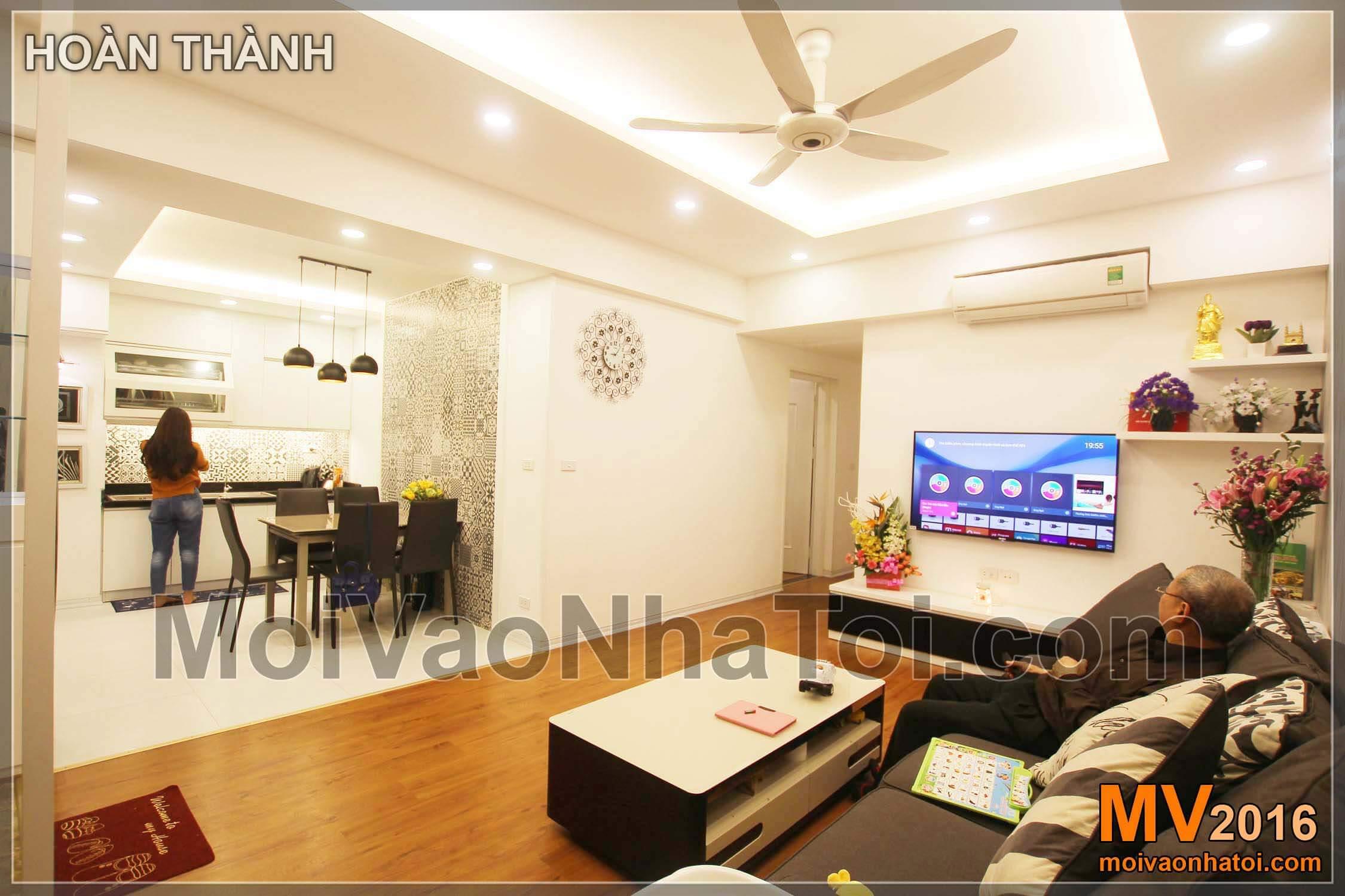 Góc nhìn phòng khách và bếp chung cư Vinaconex 7,thiết kế chung cư 105m2