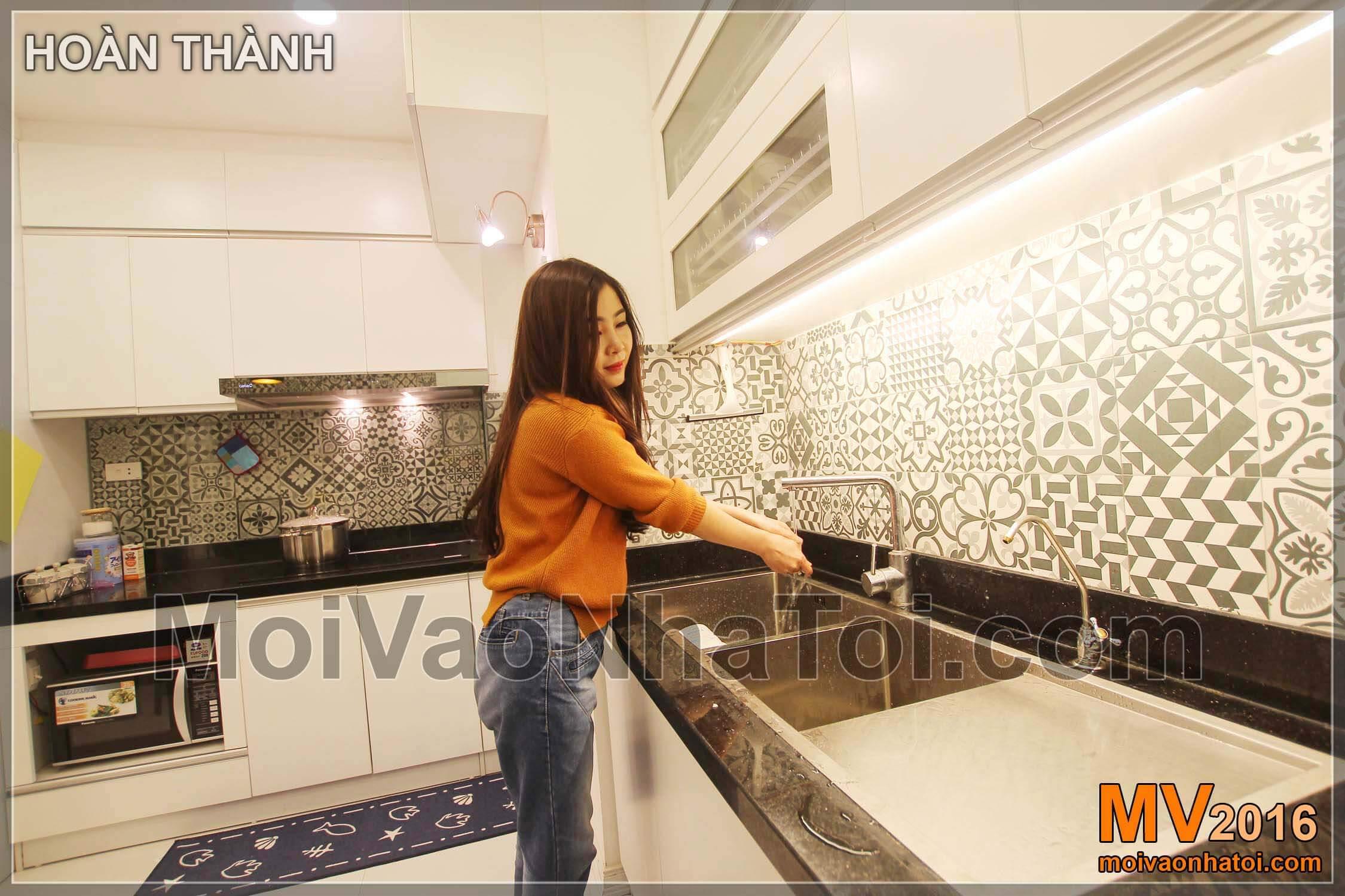 Phòng bếp gọn gàng và tiện nghi chung cư Vinaconex 7.thiết kế chung cư 105m2