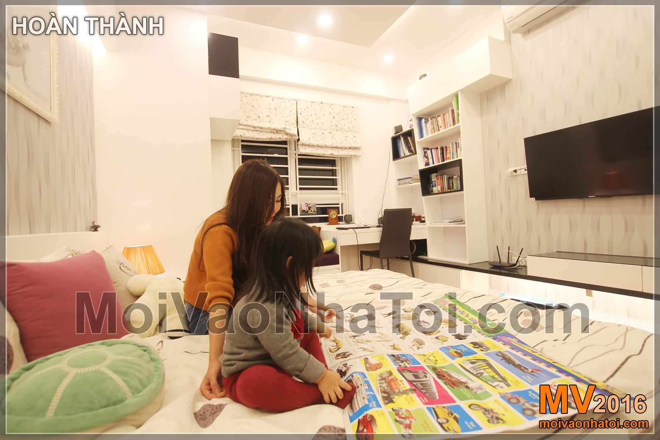 Phòng ngủ bố mẹ đã hoàn thiện Phòng ngủ cho con chung cư chung cư Vinaconex 7.thiết kế chung cư 105m2
