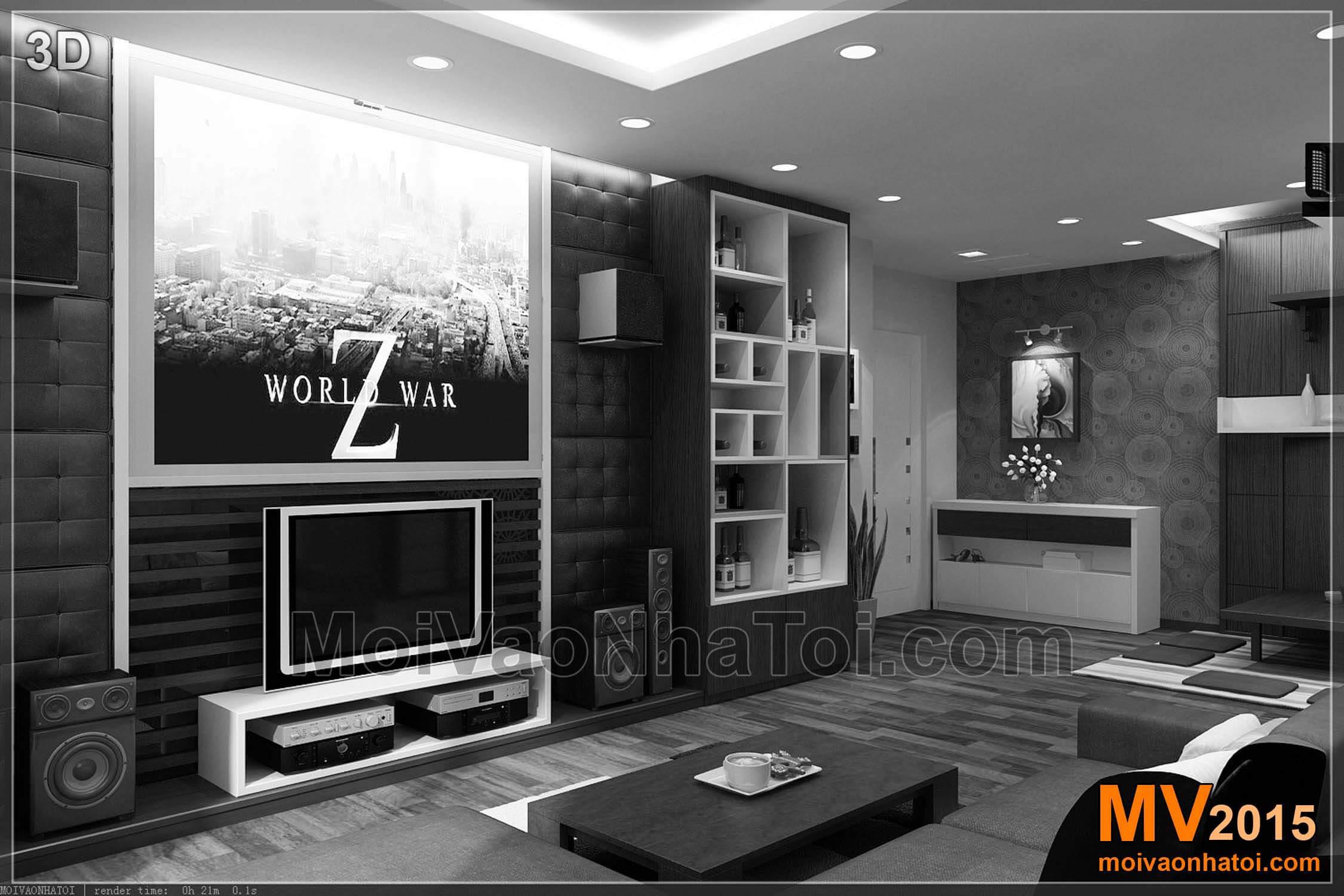 Hình ảnh 3D và hiện trạng phòng khách