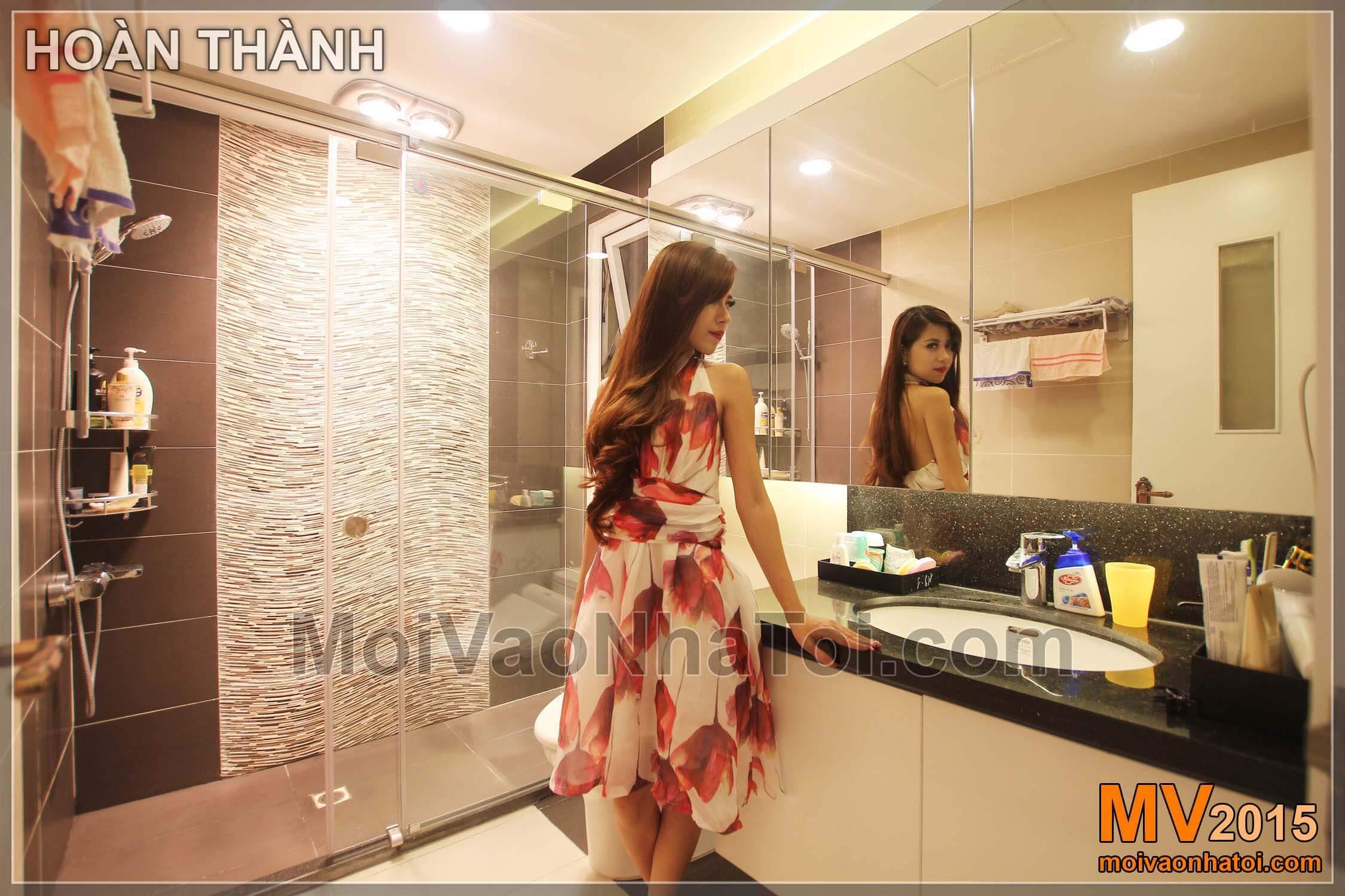 Thiết kế nội thất phòng tắm chung cư Golden Palace sau khi hoàn thiện
