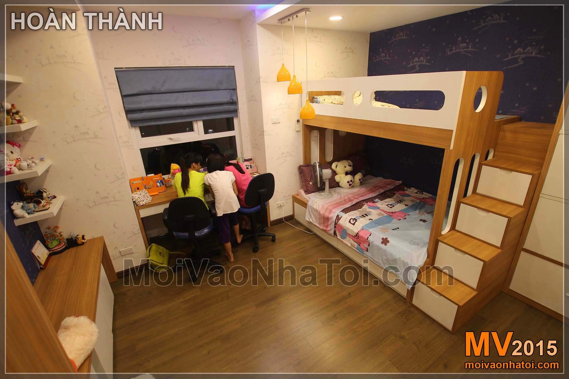 Tổng thể không gian nội thất phòng ngủ cho con