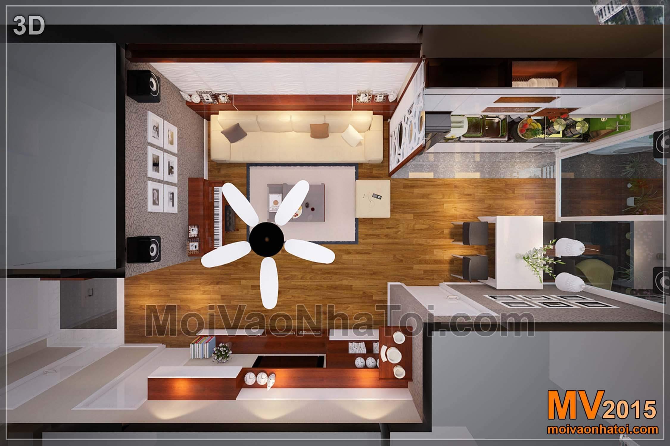 Mặt bằng 3D phòng khách - bếp
