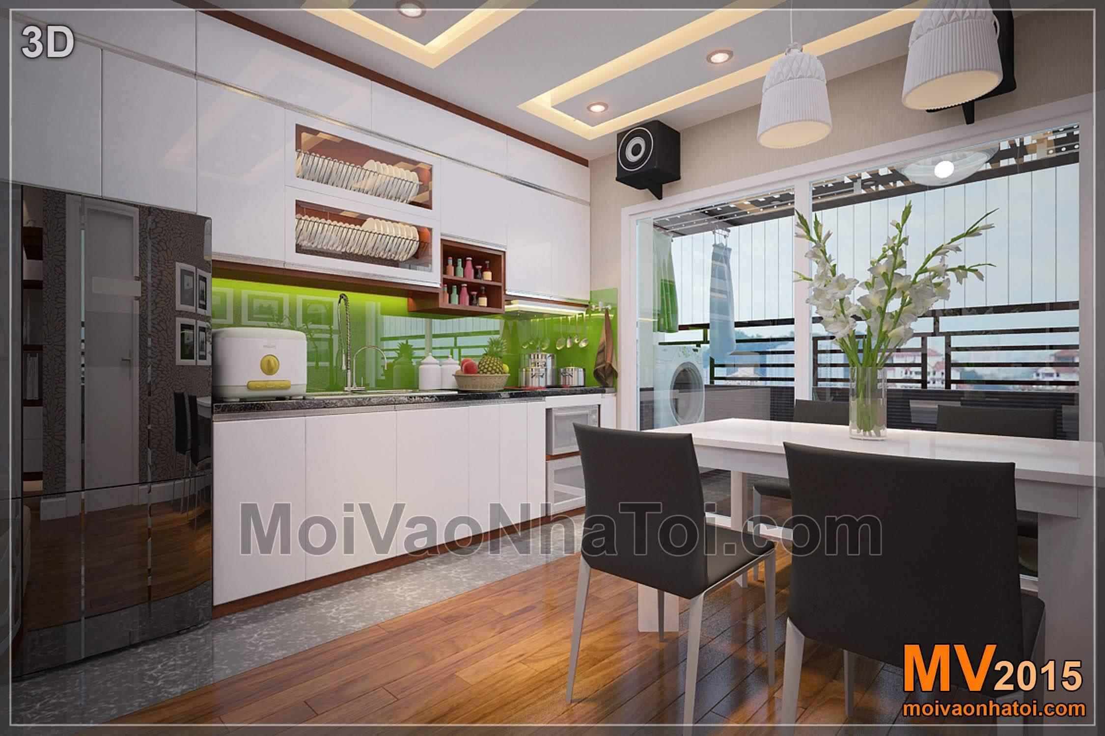 Thiết kế 3D và thi công phòng bếp chung cư cao cấp