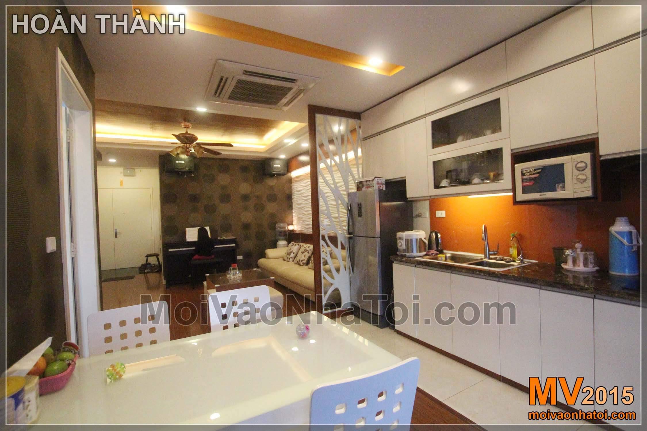 Thiết kế nội thất phòng bếp ăn tiện nghi sau khi hoàn thiện