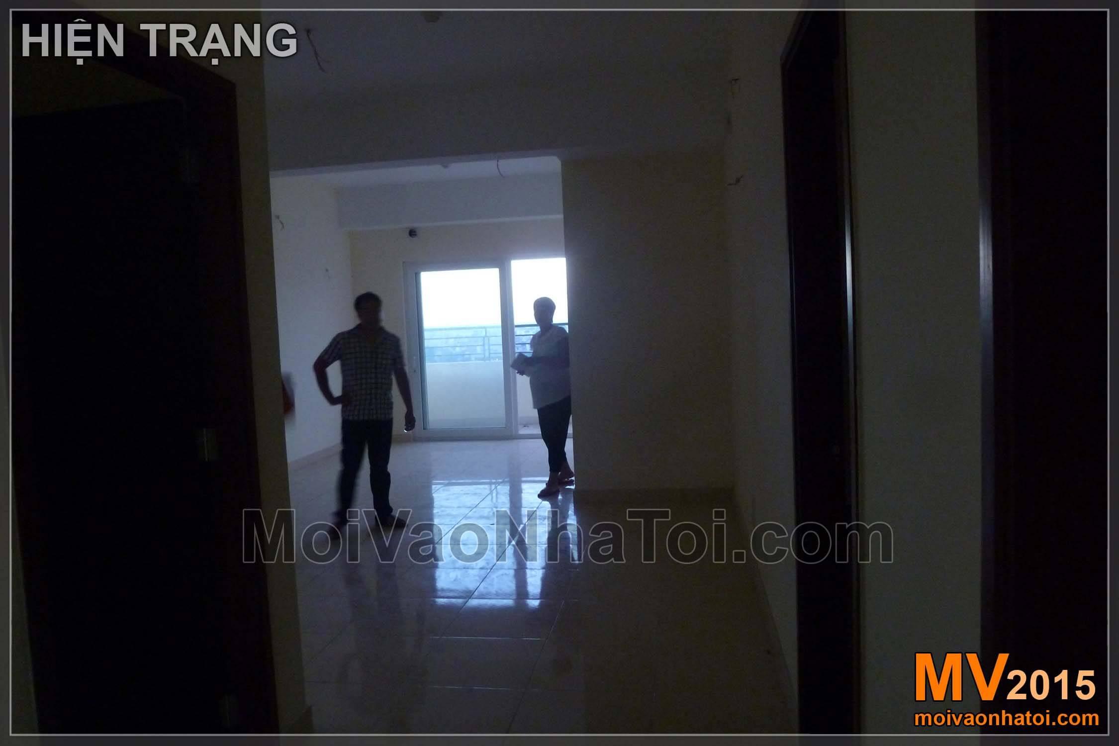 Ảnh hiện trạng và thi công phòng khách chung cư Nam Đô