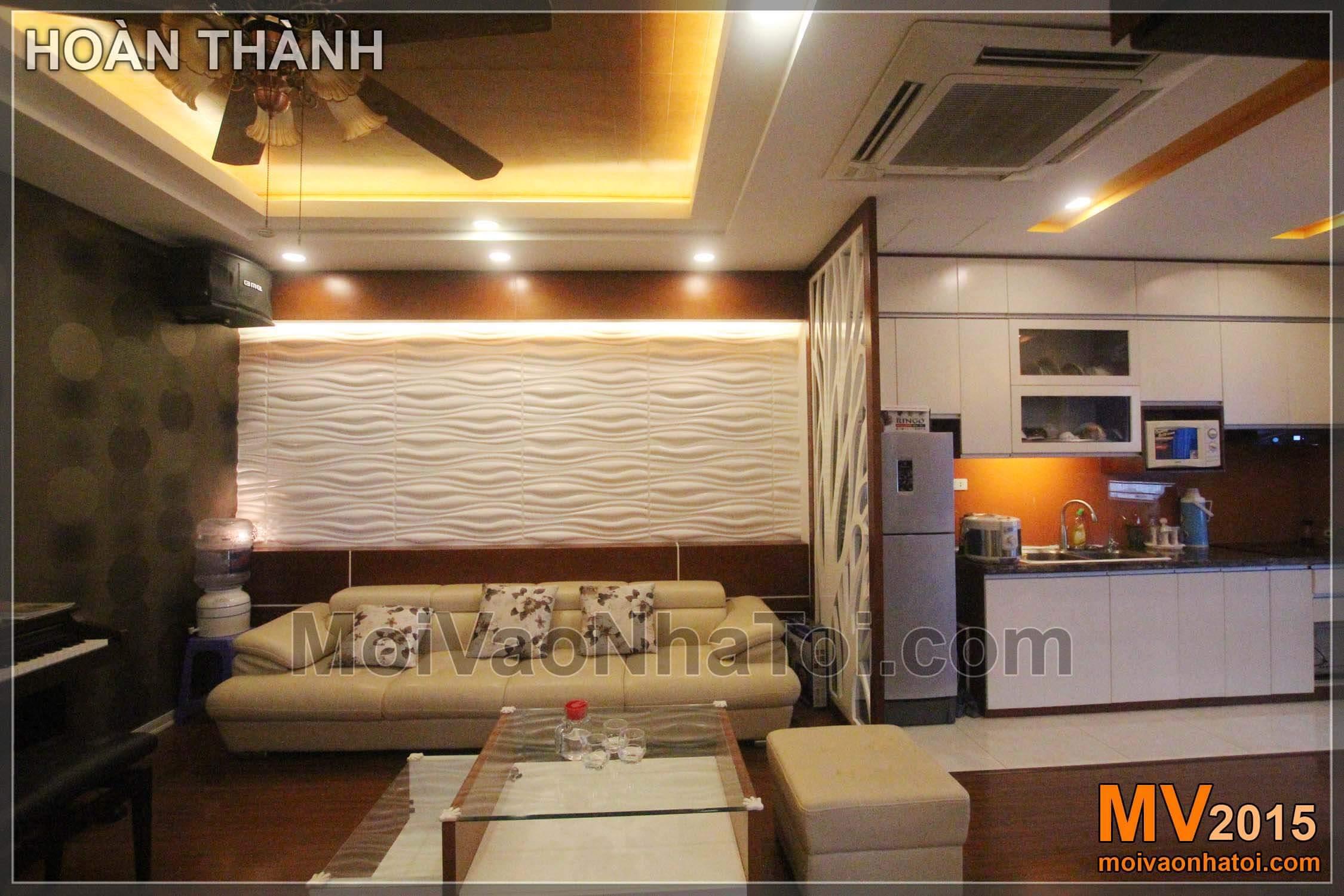 Phòng khách đẹp hơn với mảng tường 3D hiện đại