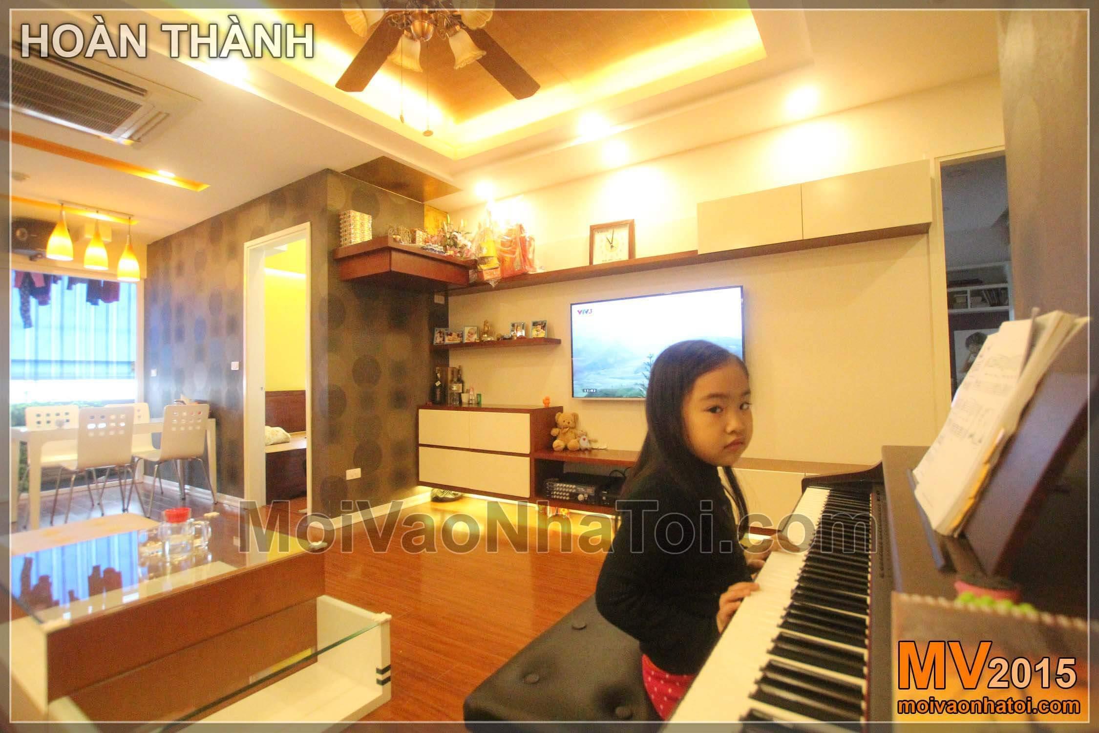 Thiết kế thi công nội thất chung cư Nam Đô có phòng khách bếp rộng rãi hòa cùng không gian xanh