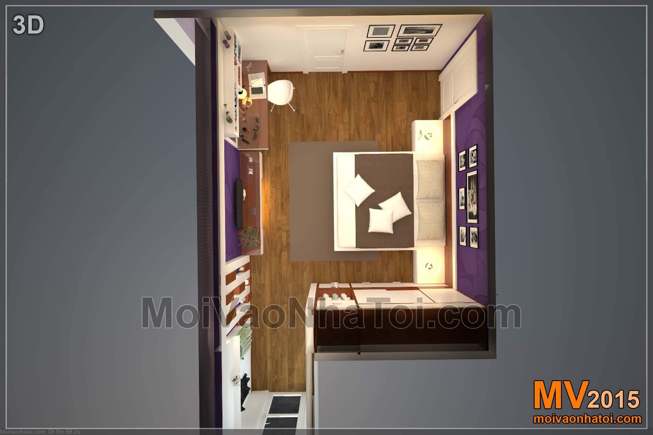 Mặt bằng 3D phòng ngủ Master