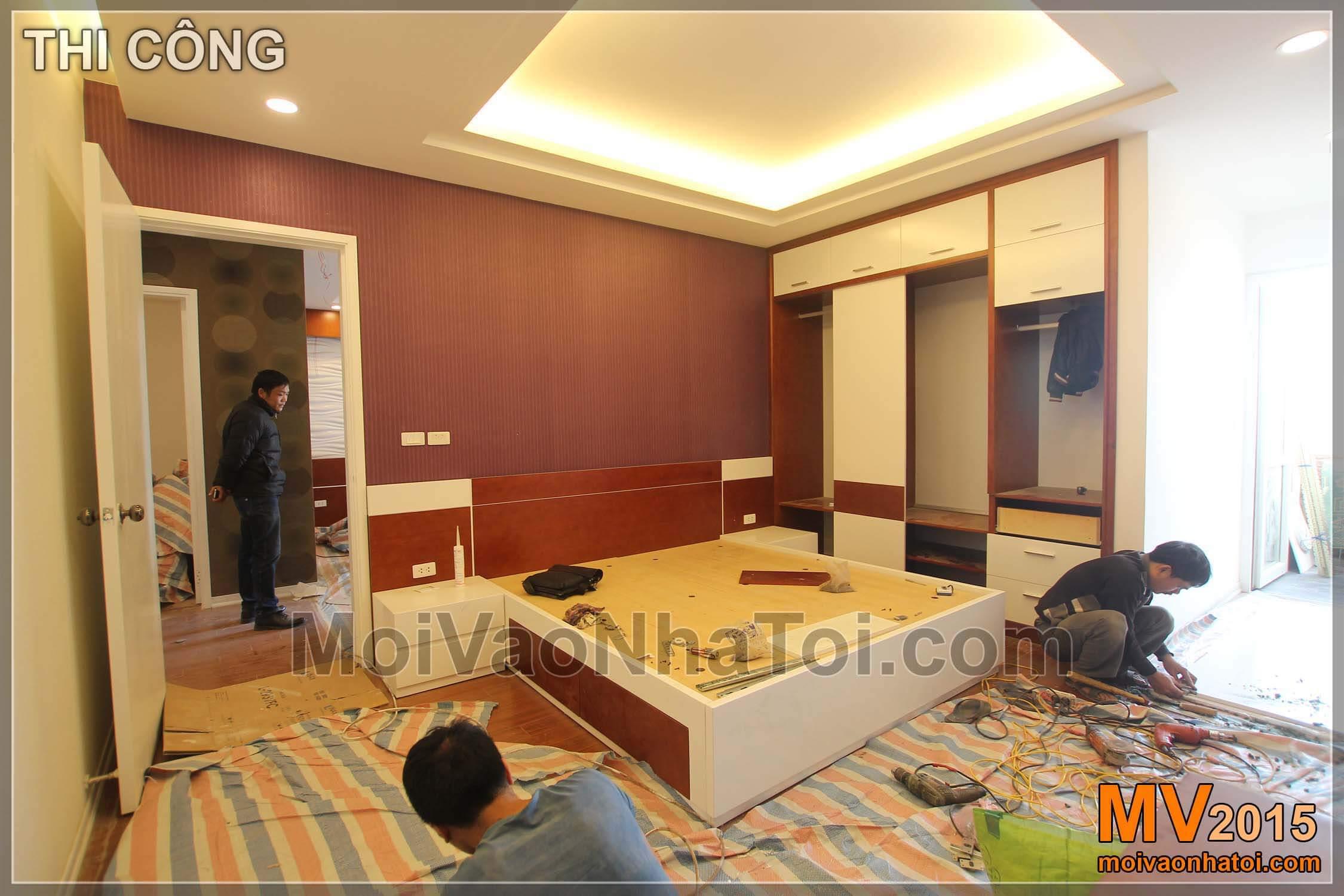 Ảnh 3D và thi công phòng ngủ Master chung cư mini