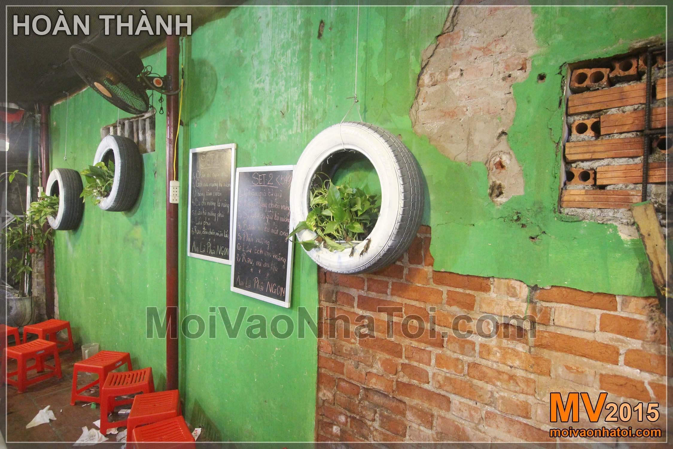 Mảng tường quán với thiết kế đẹp lạ
