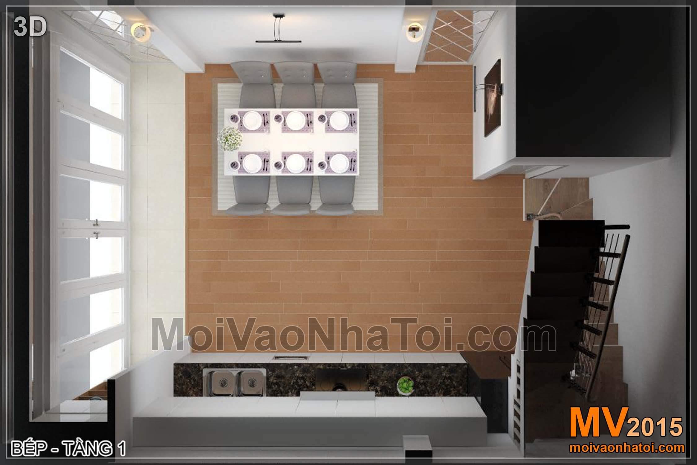 Mặt bằng 3D phòng bếp ăn - Tầng 1