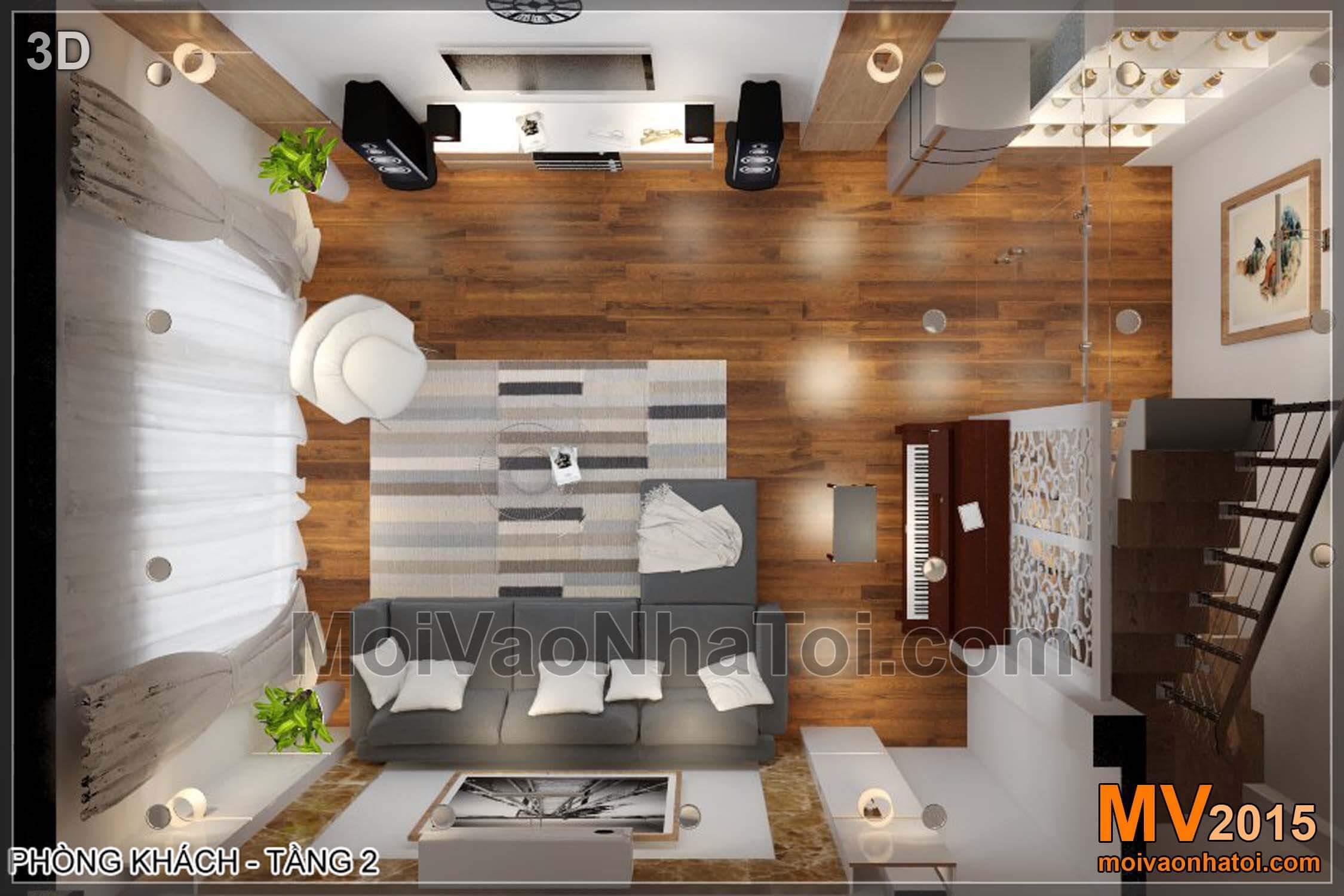 Mặt bằng 3D phòng khách - Tầng 2