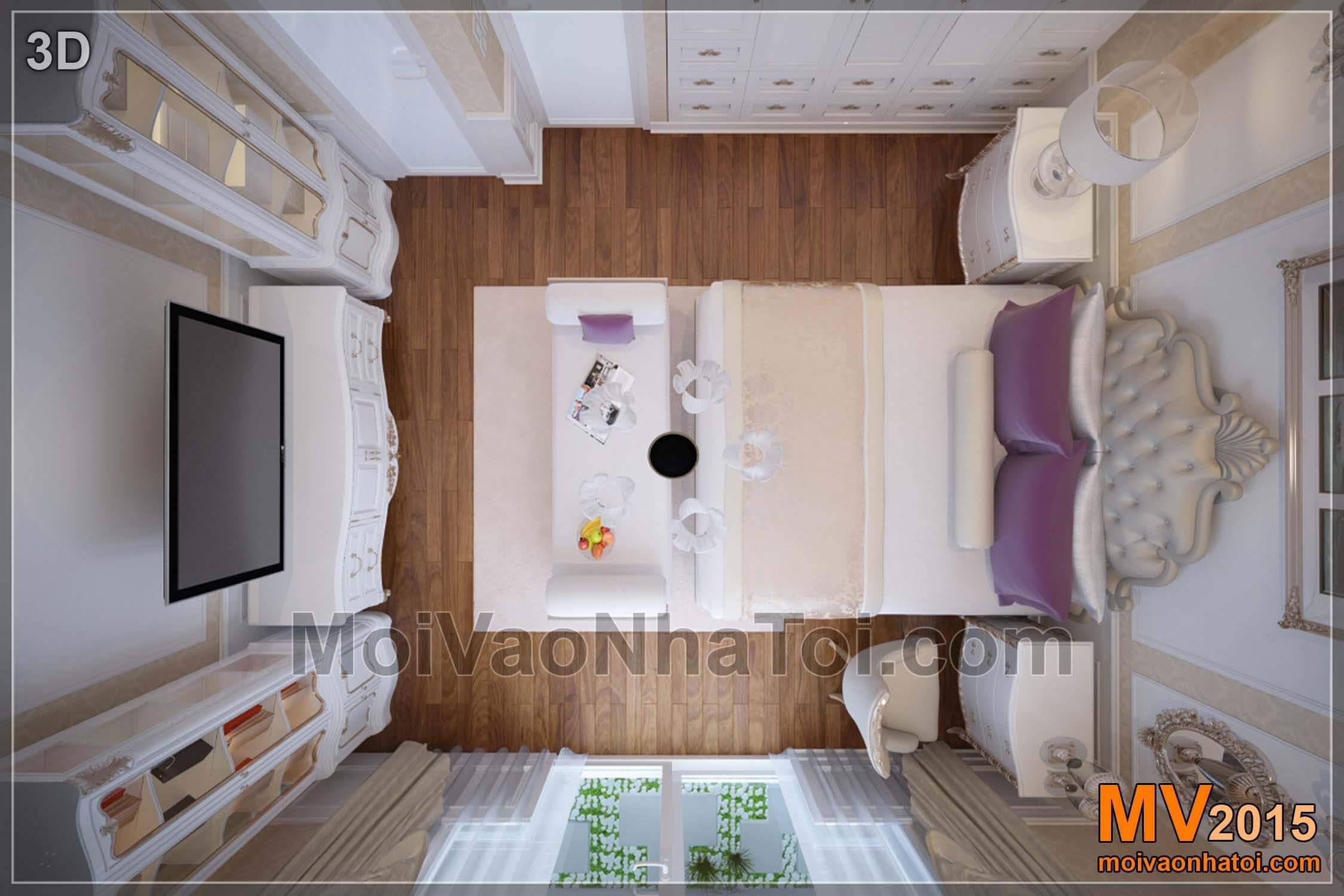 3D mặt bằng phòng ngủ bố mẹ - Tầng 3