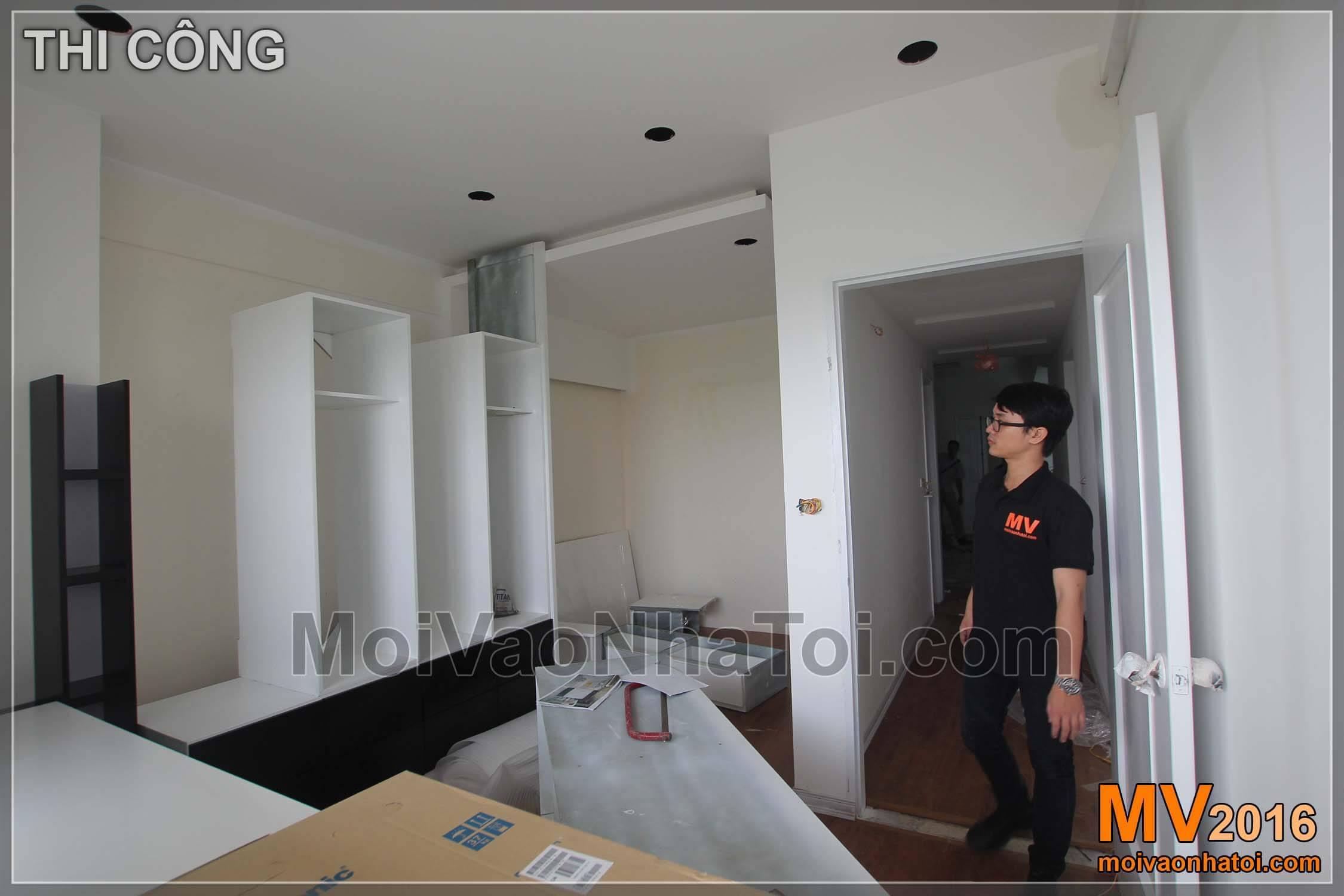 Nội thất phòng ngủ con được thiết kế hợp lý theo diện tích hiện trạng