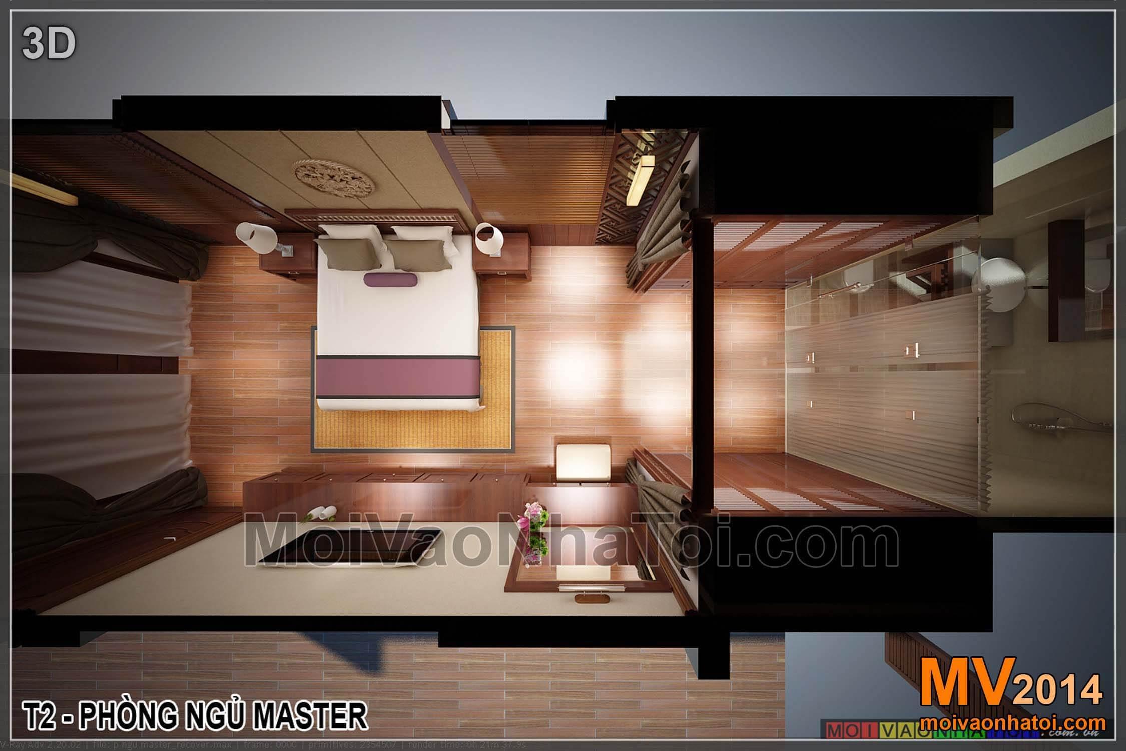 Mời bạn lên tầng 2 xem phòng ngủ master