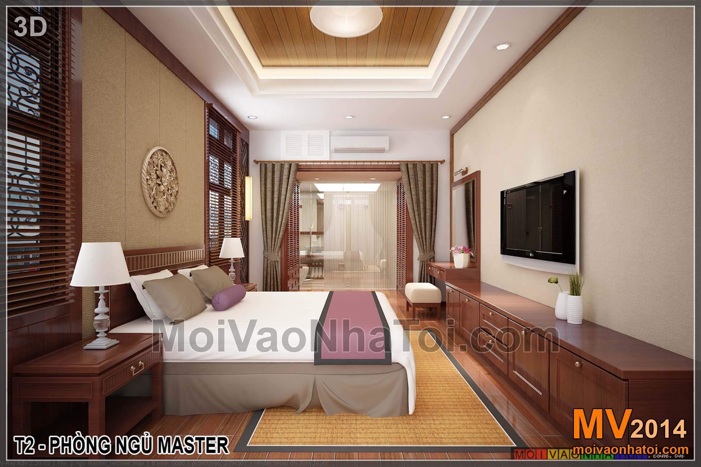 Phòng ngủ với nội thất phong cách Á Đông