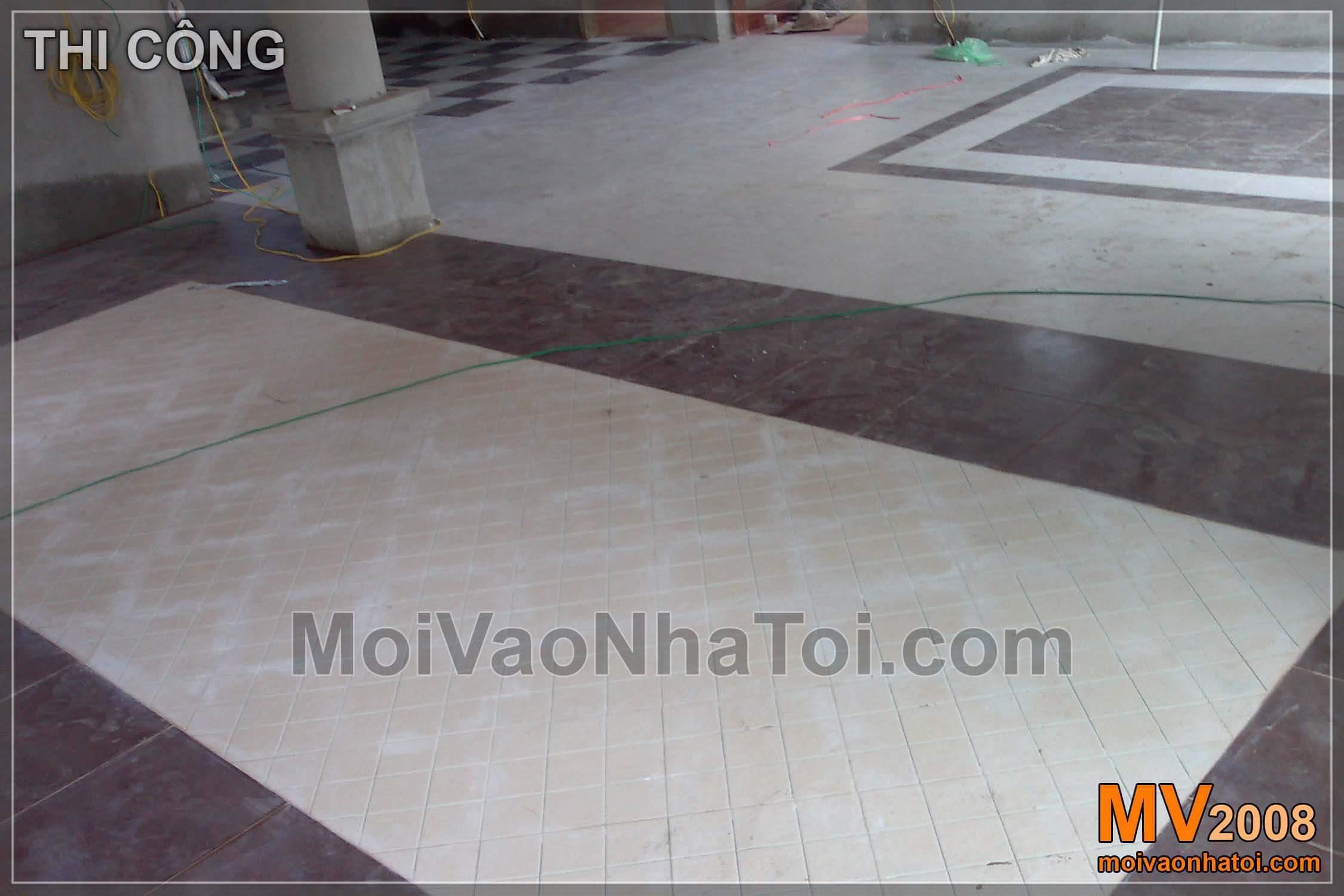 sàn gạch men lát theo thiết kế