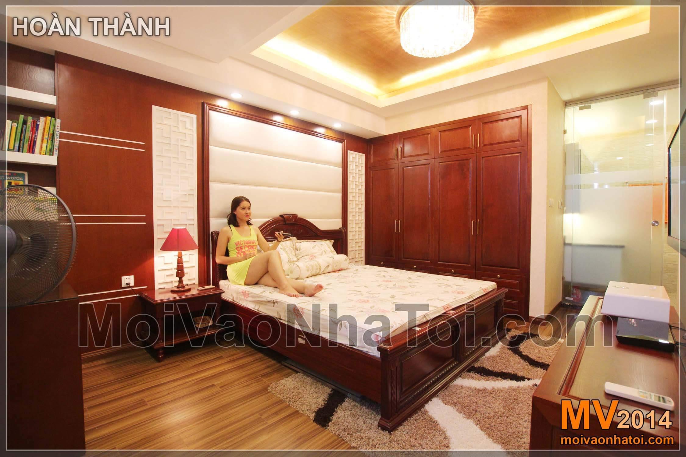 Chung cư Star City Đầu giường kiểu cổ điển, tạo bởi các chất liệu Ốp da, CNC, Ốp gỗ