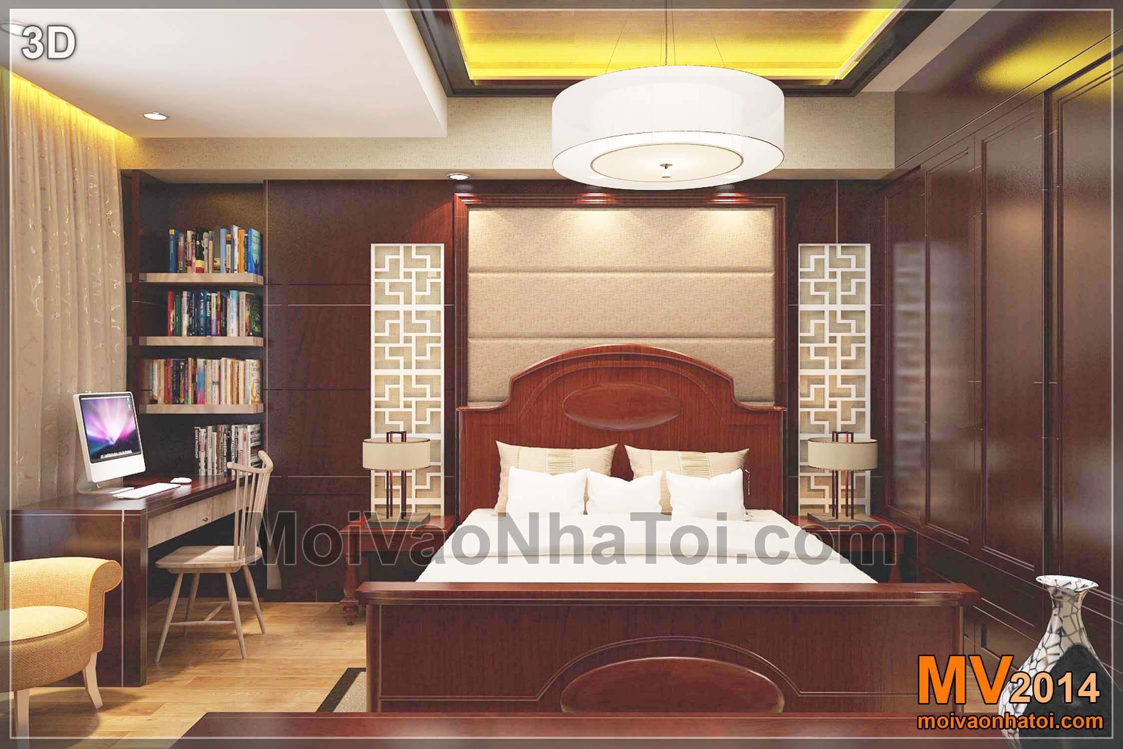 Phối cảnh thiết kế đầu giường phòng ngủ master