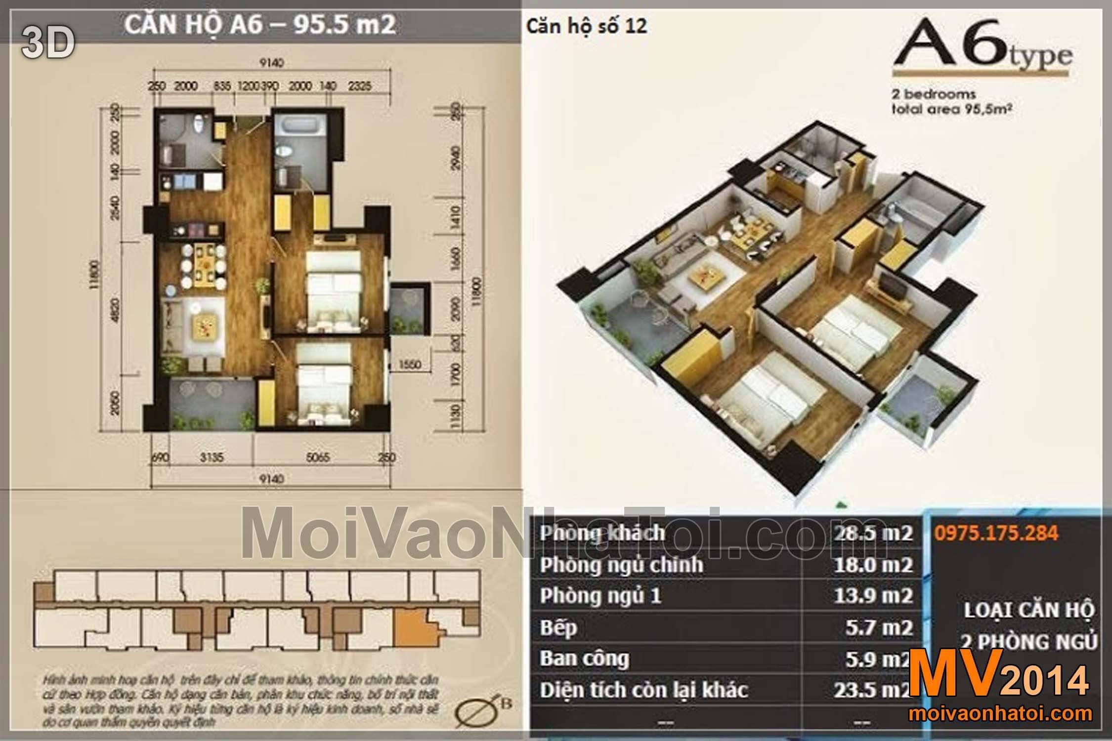 Mặt bằng căn hộ chung cư Star City Lê Văn Lương 95.5m2
