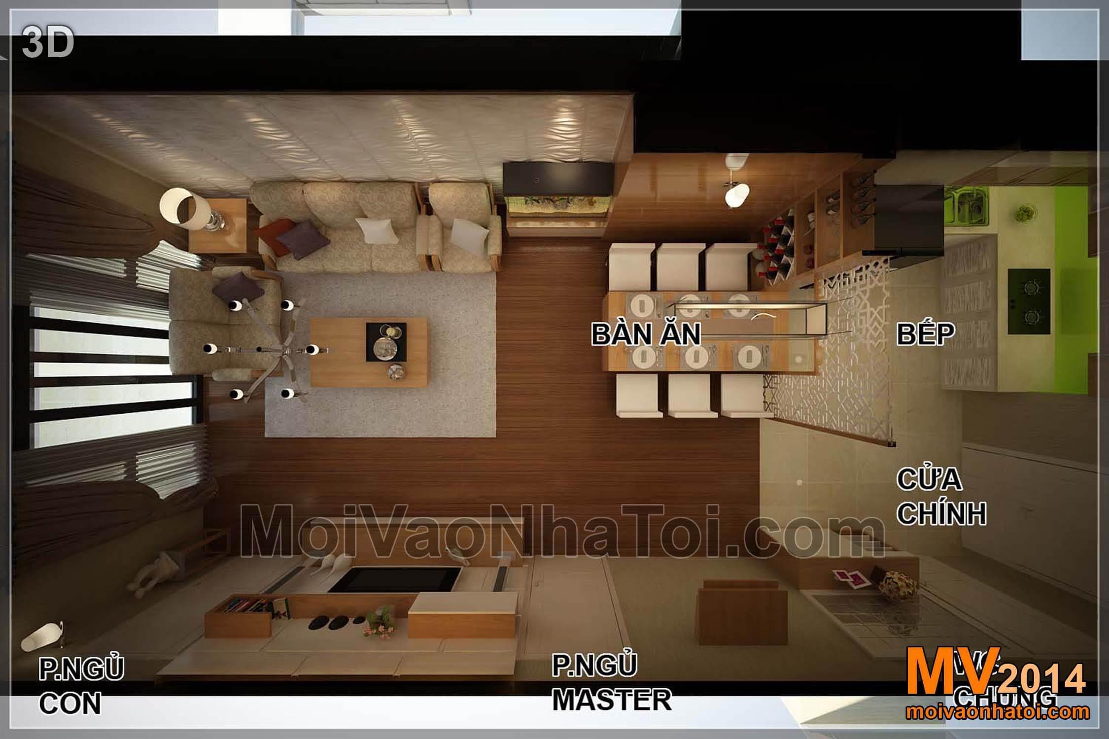 3D mặt bằng thiết kế nội thất chung cư Star City 95m2 nhìn từ trên xuống