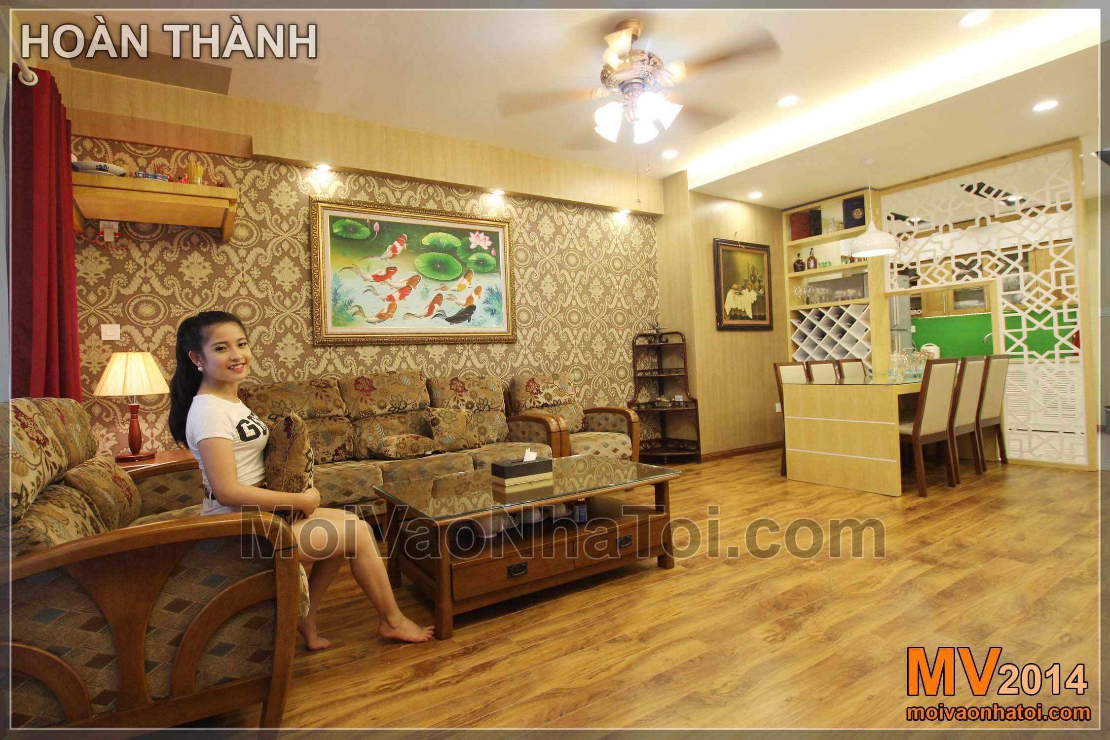 Chung cư Star City Nội thất phòng khách với ánh sáng và tông màu ấm