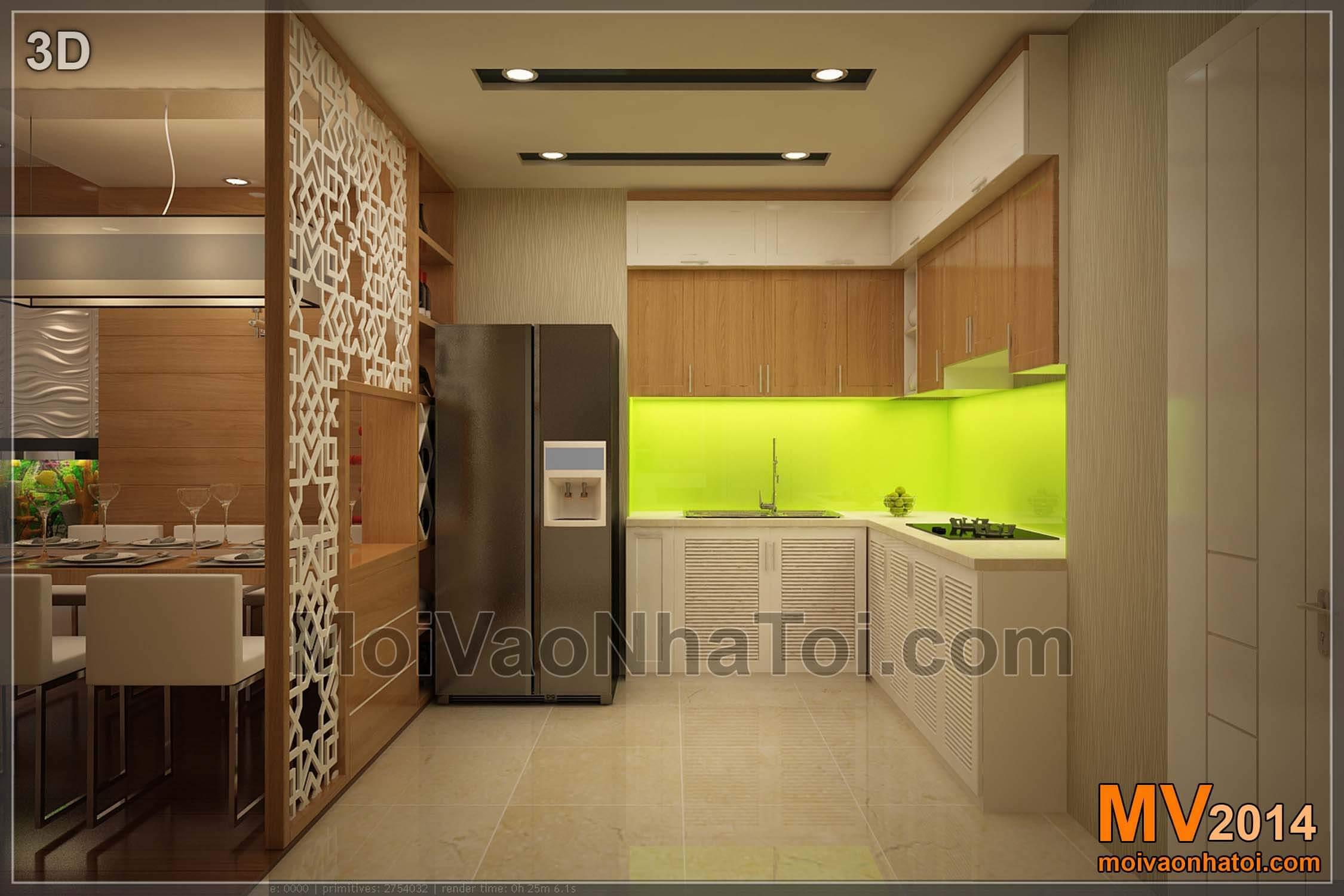 Thiết kế 3D khu vực bếp
