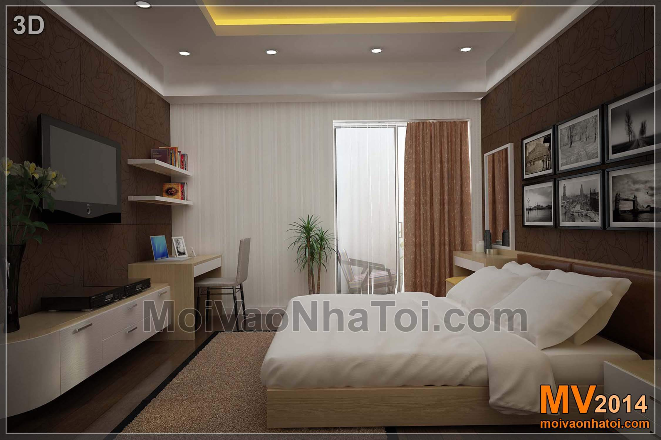 Thiết kế nội thất phòng ngủ bố mẹ trên bản vẽ