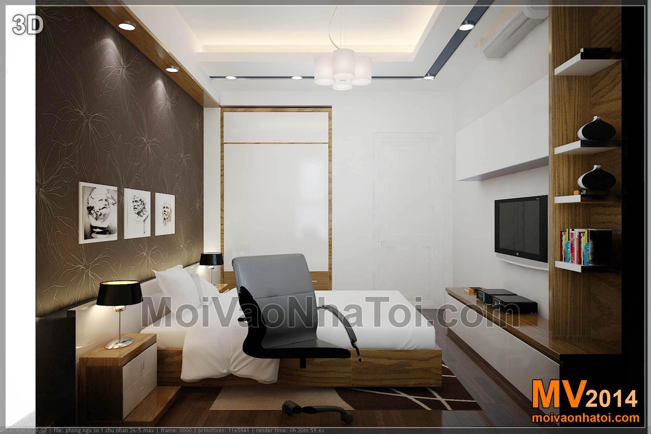 Thiết kế phòng ngủ con bản vẽ 3D