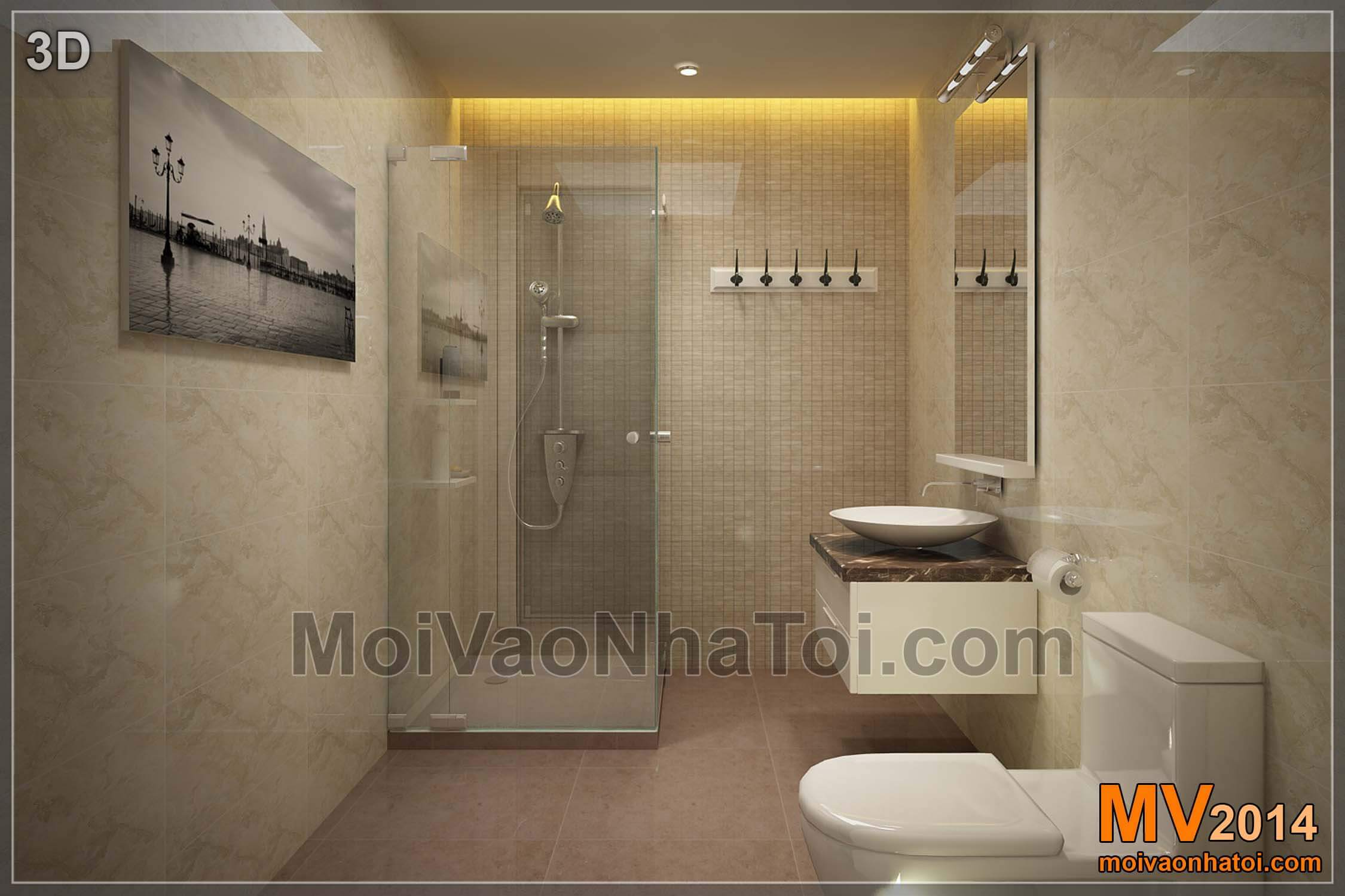 3D thiết kế phòng vệ sinh