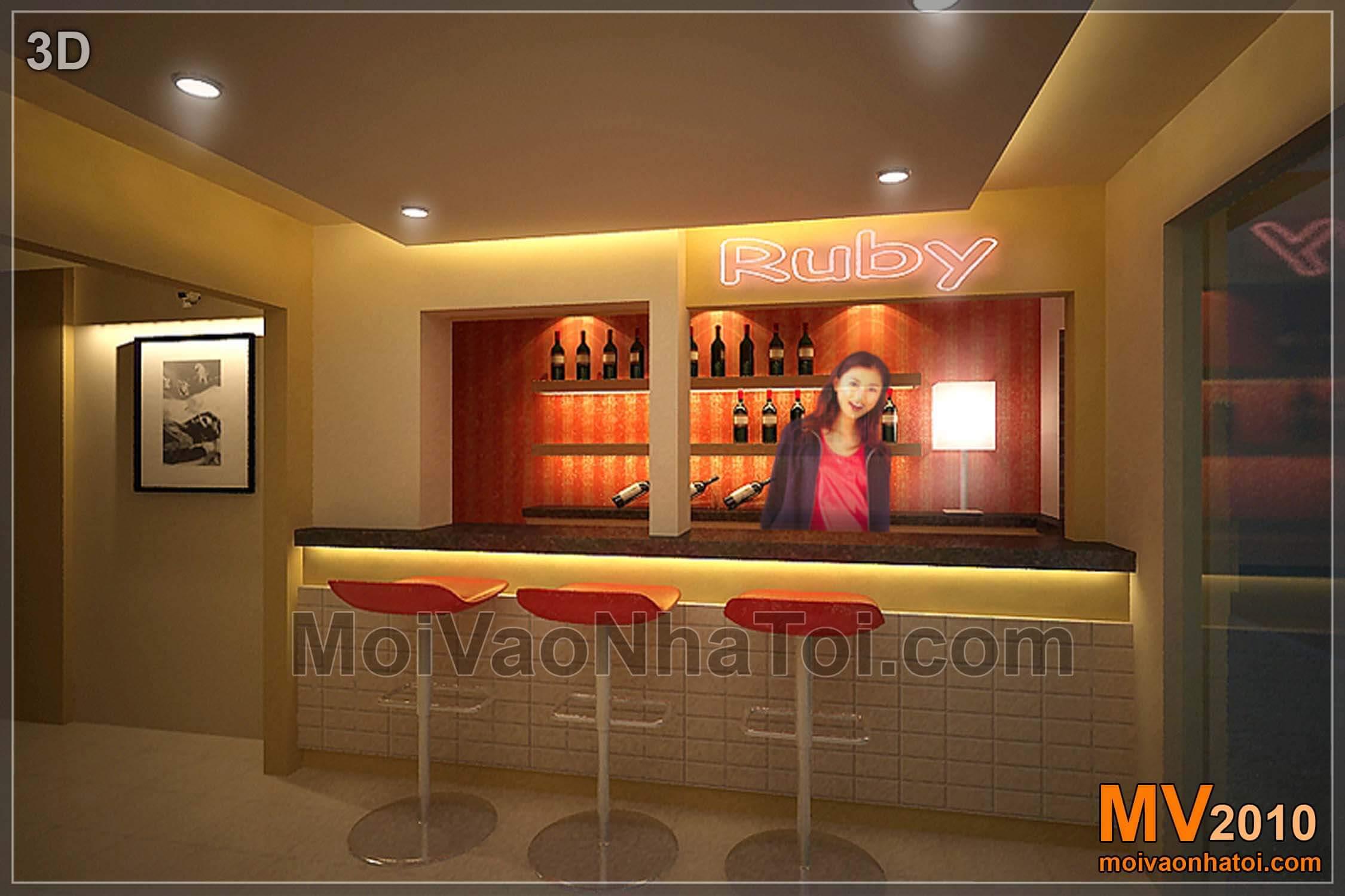Quầy Bar với thiết kế đơn giản