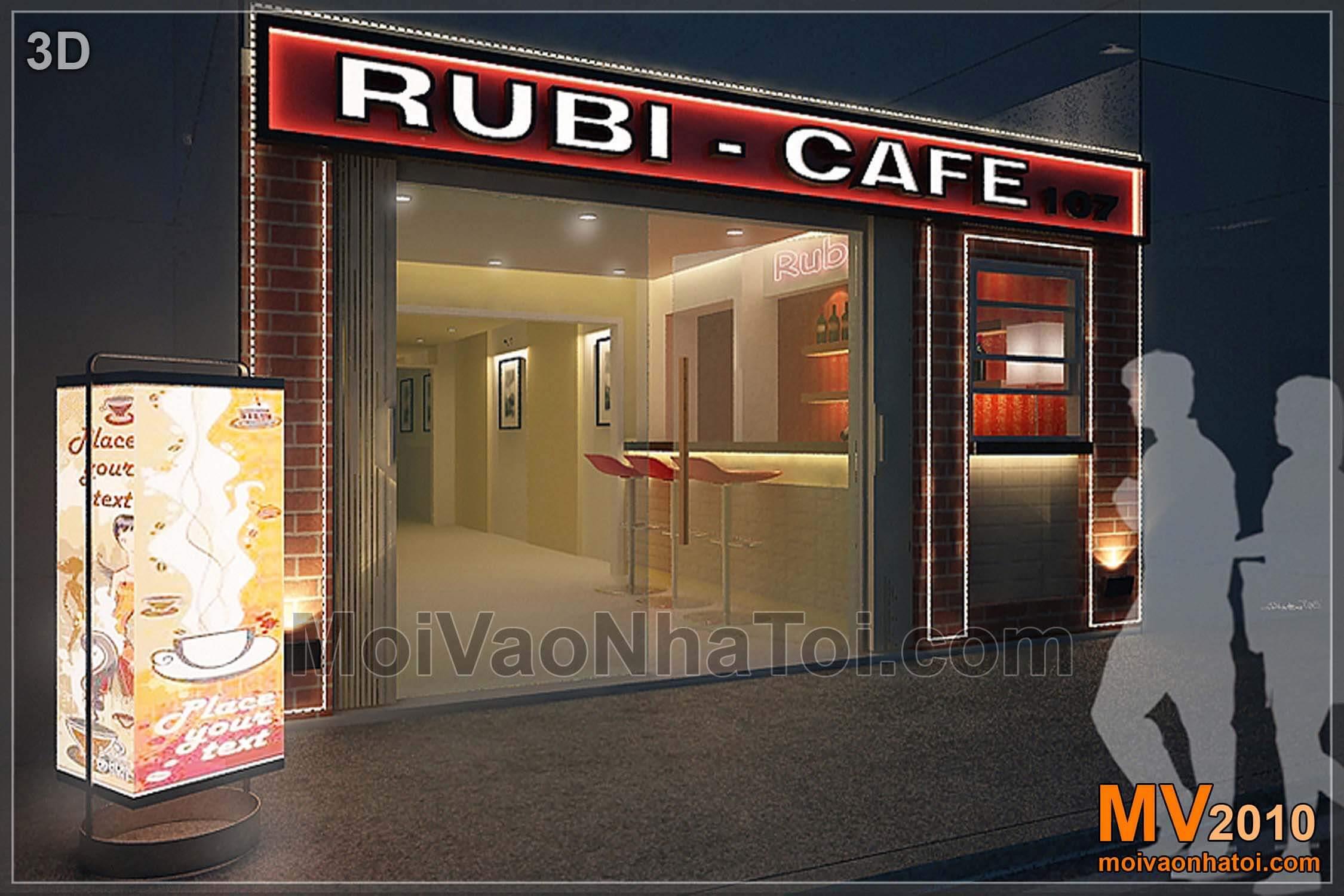 Thiết kế 3D quán cafe