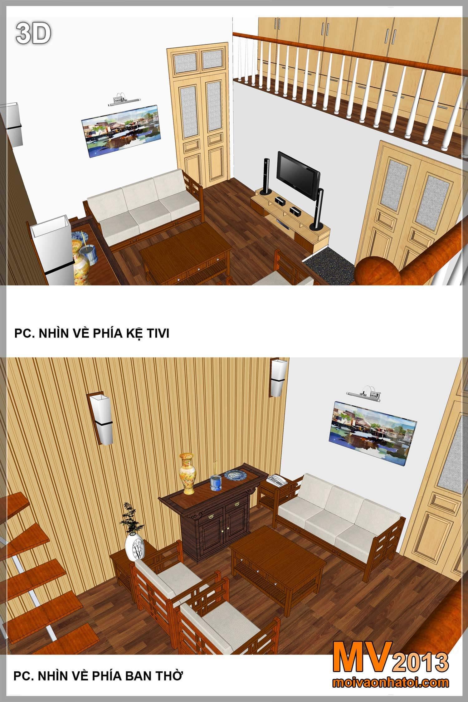 Bản thiết kế nội thất phòng khách