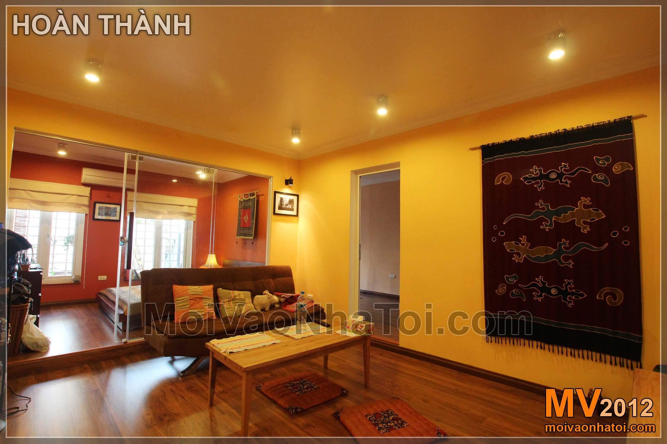 Khi hoàn thành - Nội thất nhà tập thể phòng khách rực rỡ sắc màu